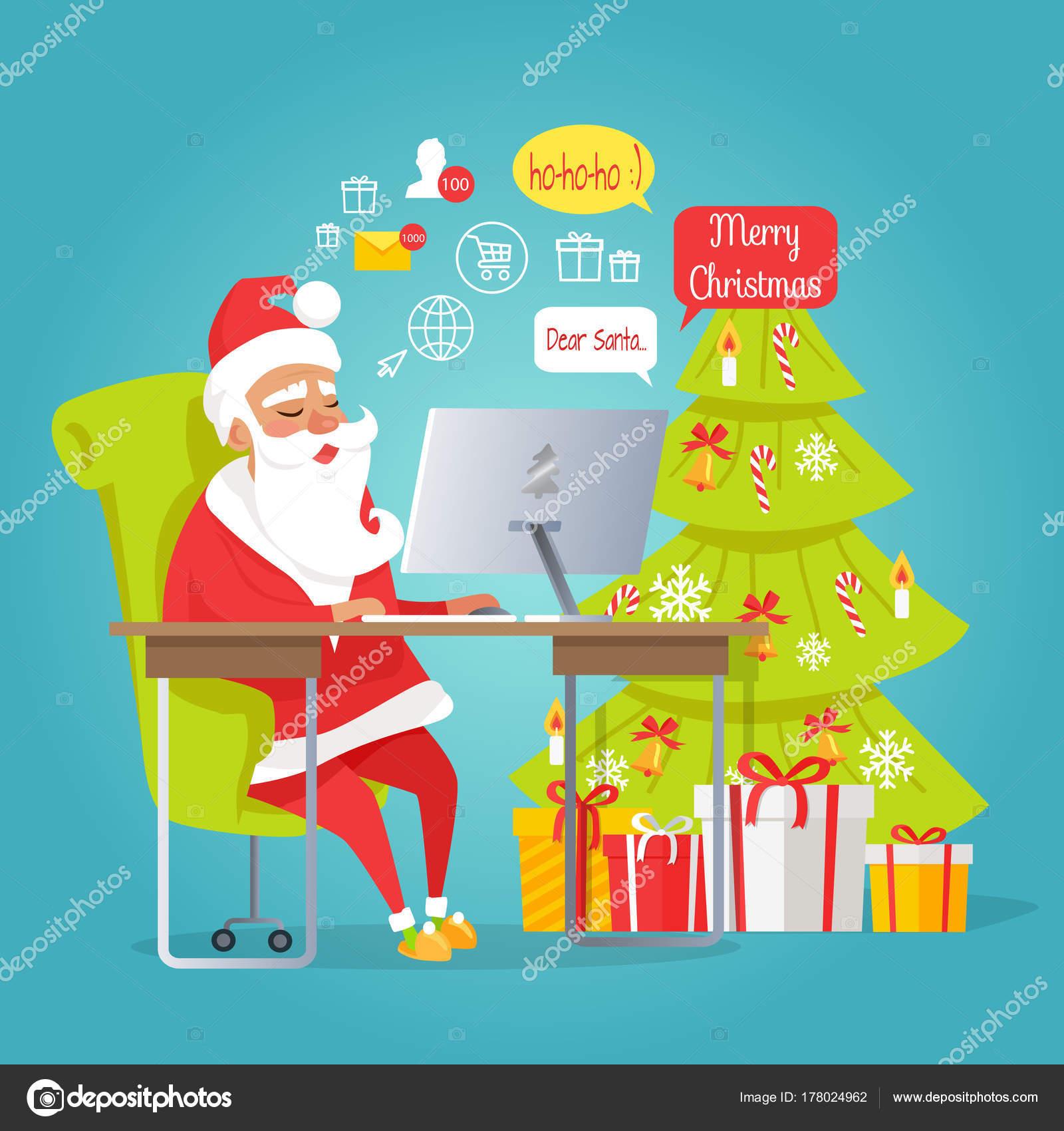 Email Frohe Weihnachten.Santa Mail Frohe Weihnachten Mann Lesung Briefe Stockvektor