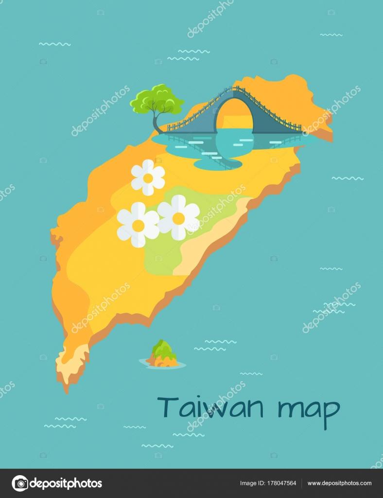 Luna nueva Puente marcado en el diagrama de mapa de Taiwán — Archivo ...