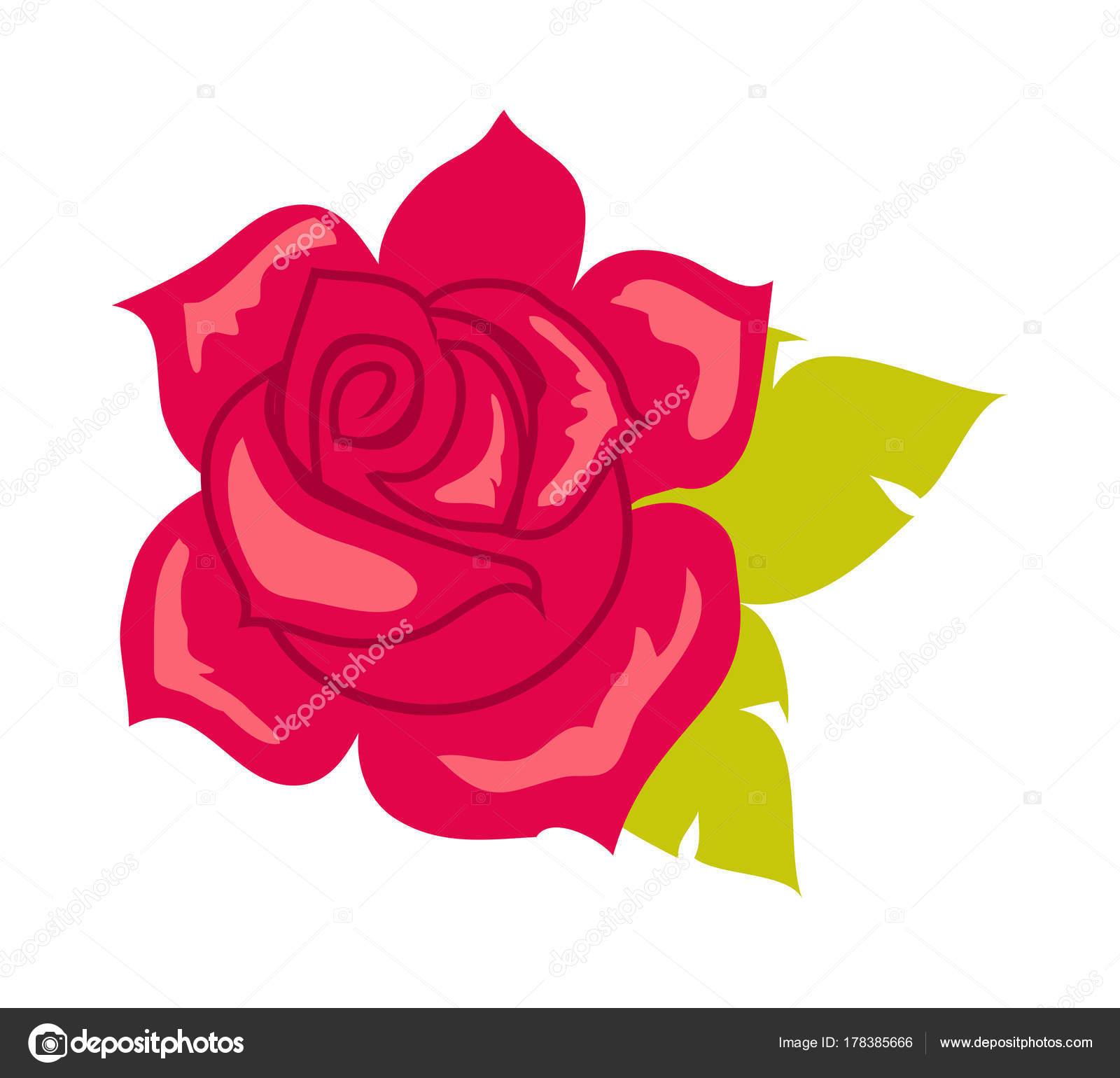 Rose Rouge Avec Feuille Verte Fleur En Style Cartoon Image