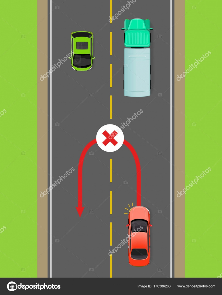 Banned Car U-Turn Flat Vector Diagram — Stock Vector © robuart ...