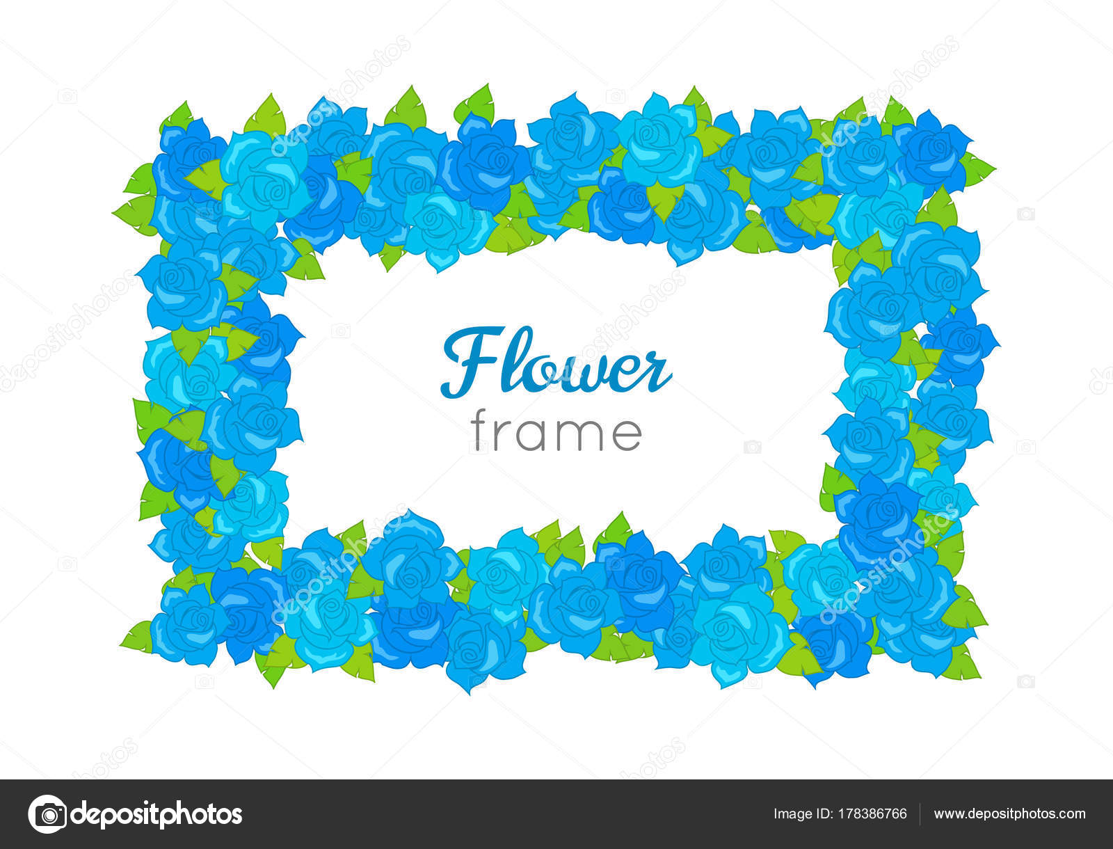 9d912bc916 Flower frame. Rectangular wreath of different blossoms. Leaves. Colourful  selection of flowers on white. Blue purple yellow red roses. Decoration.