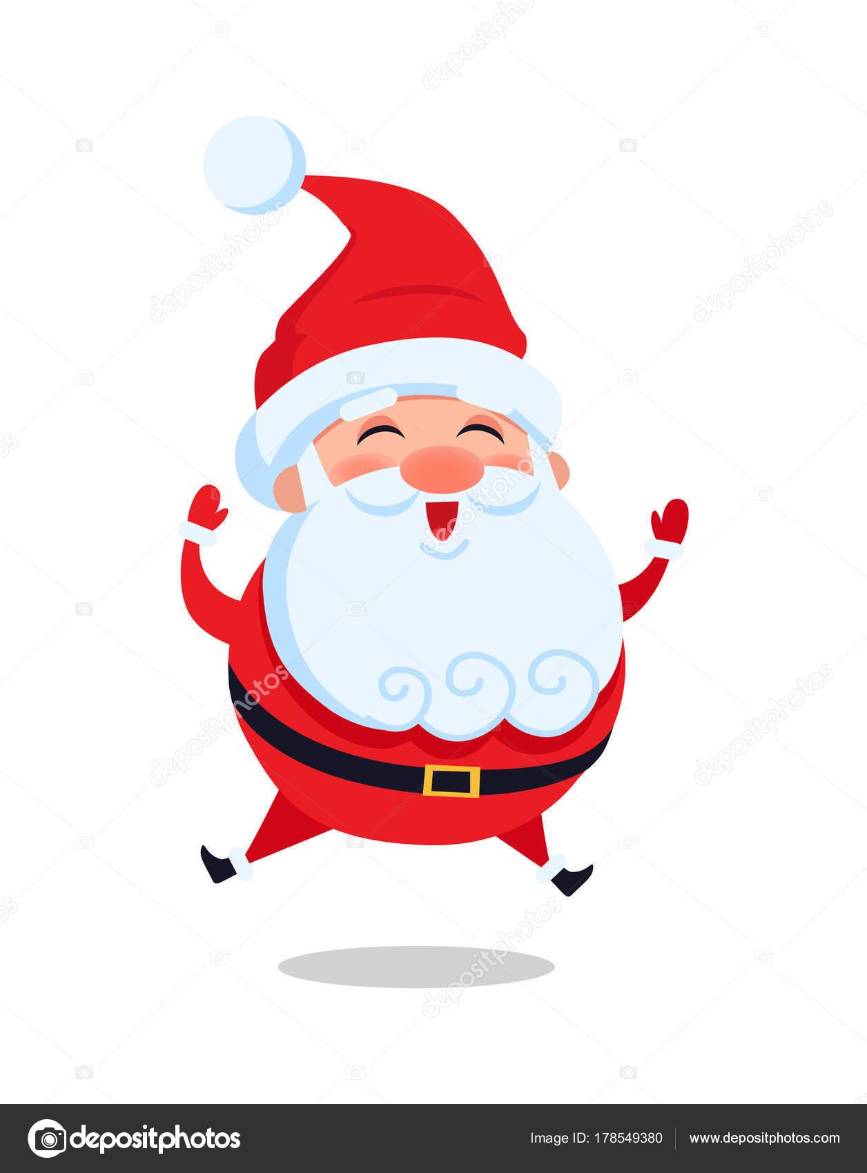 7f28343ca Feliz salta Papá Noel vector ilustración aislada sobre fondo blanco. Salta  Papá Noel en el aire saludando a todo el mundo y sonriendo de alegría —  Vector de ...