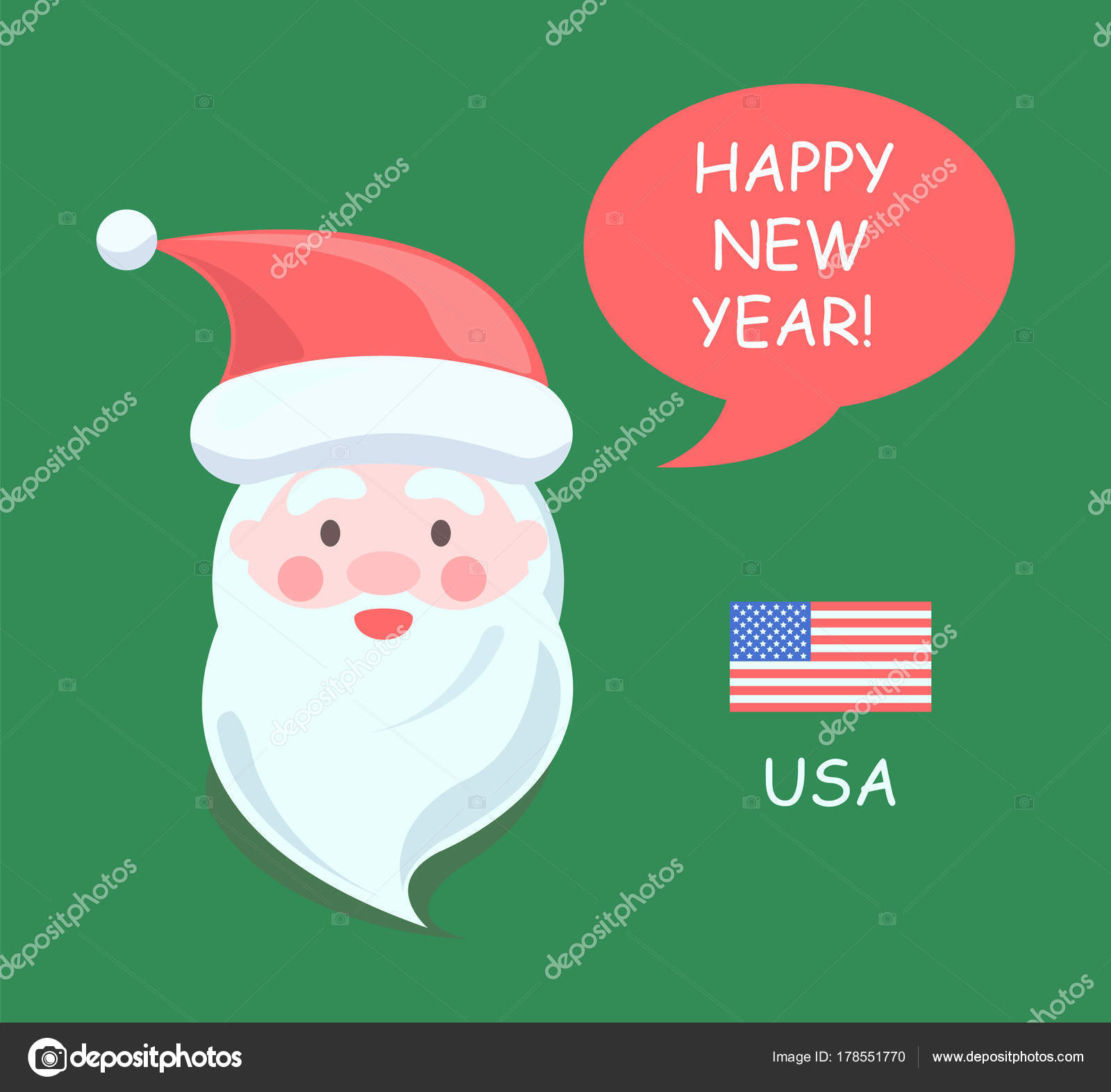 usa santa claus happy new year vector illustration stock vector