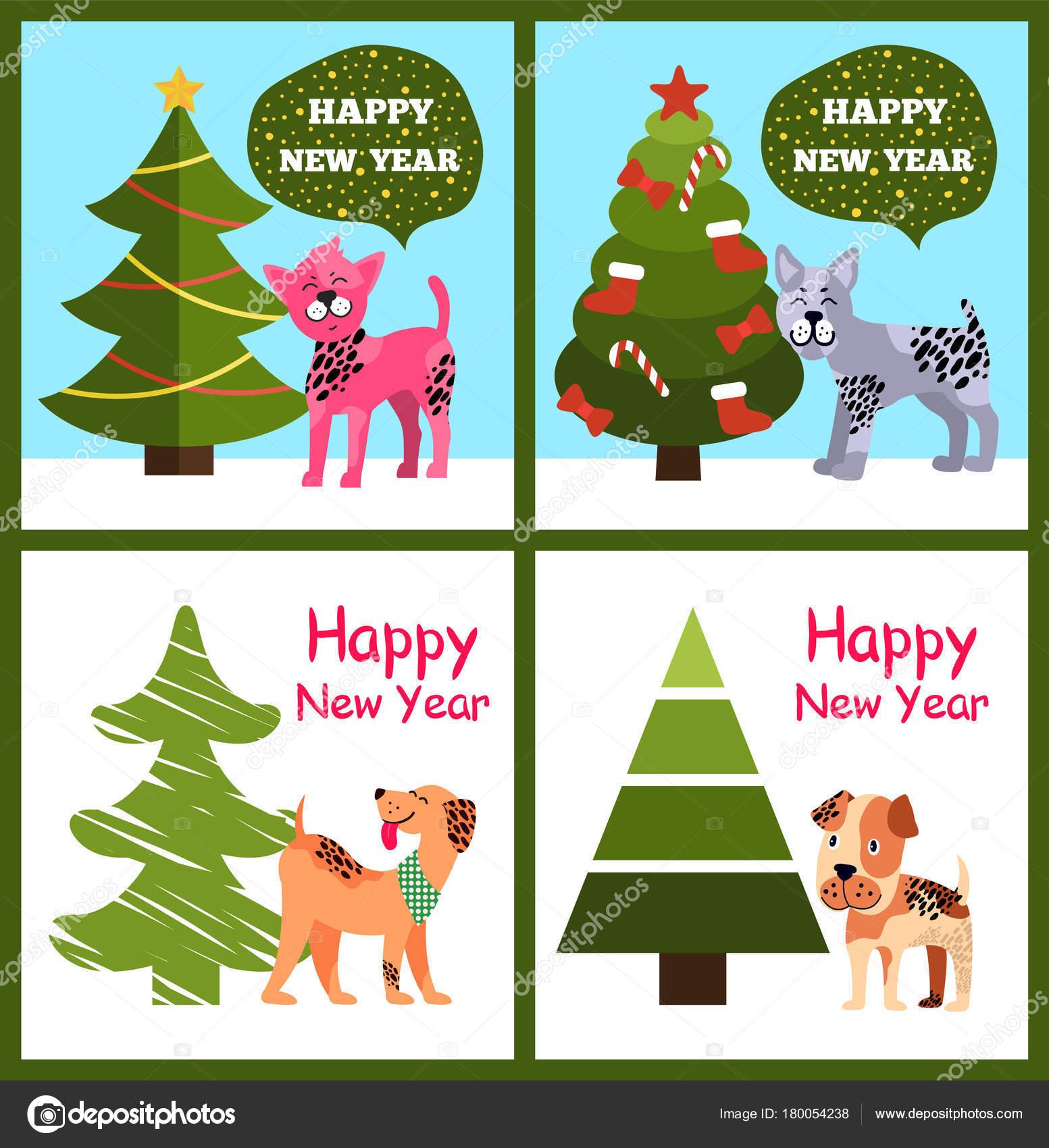 Lustige Cartoon Hunde Wunschen Frohes Neues Jahr In Blase