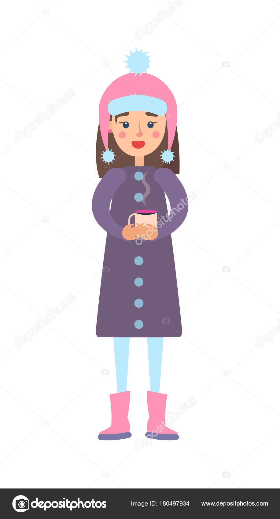 6c735480fde8 Girl Warm Winter Cloth with Cup of Hot Tea Drink — Stock Vector ...