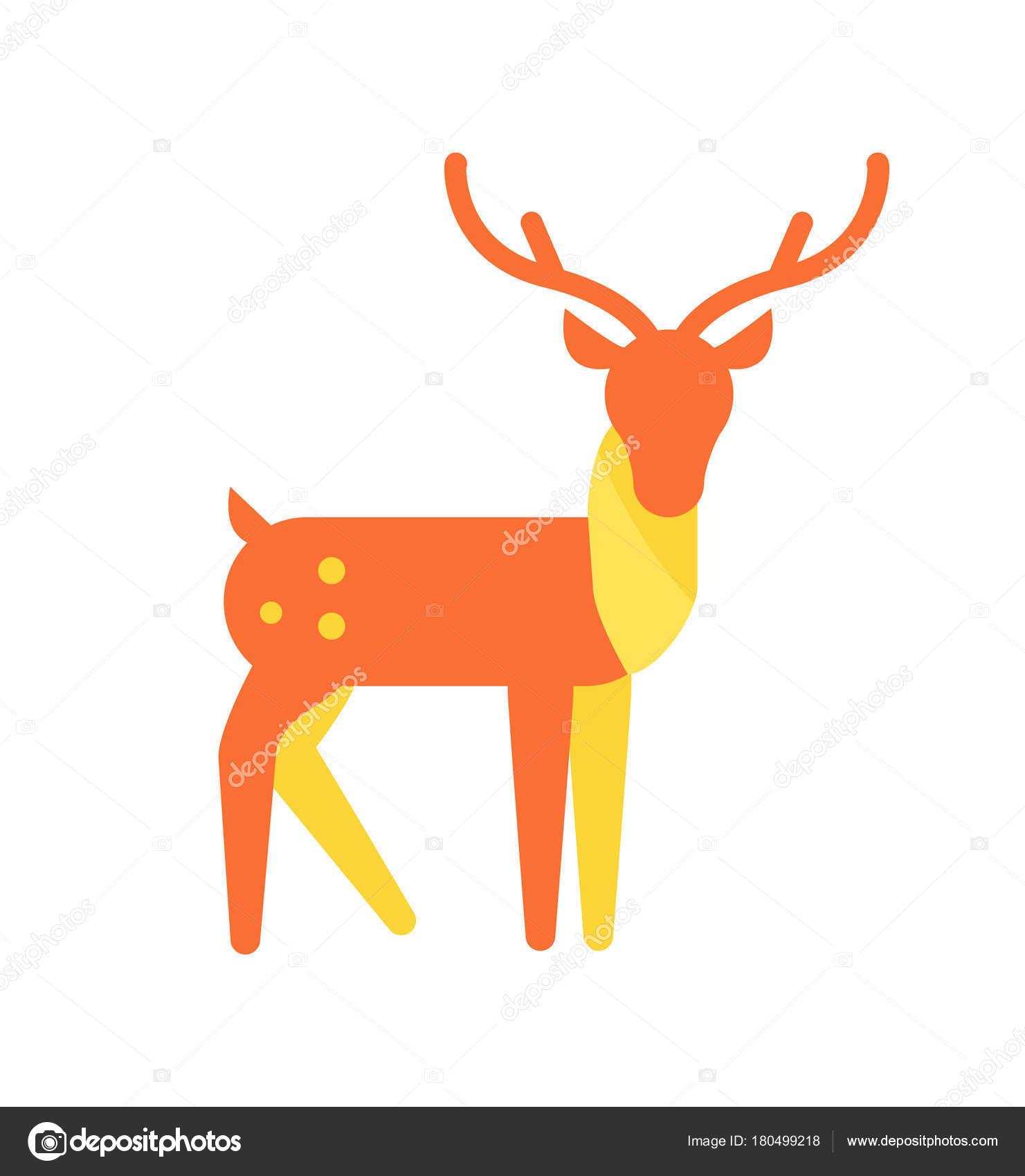 シカ動物アイコンオレンジ色の角のトナカイ ストック