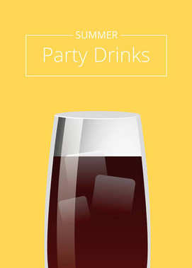Summer Party Drinks Promo Poster with Cocktail