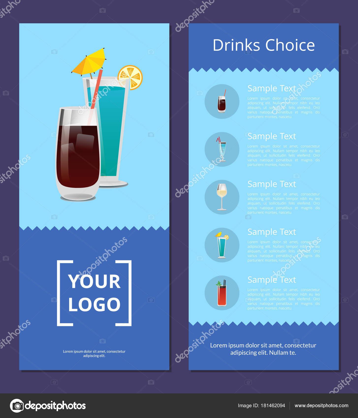 Getränke Auswahl Cocktails Mmenu Werbeplakat — Stockvektor © robuart ...
