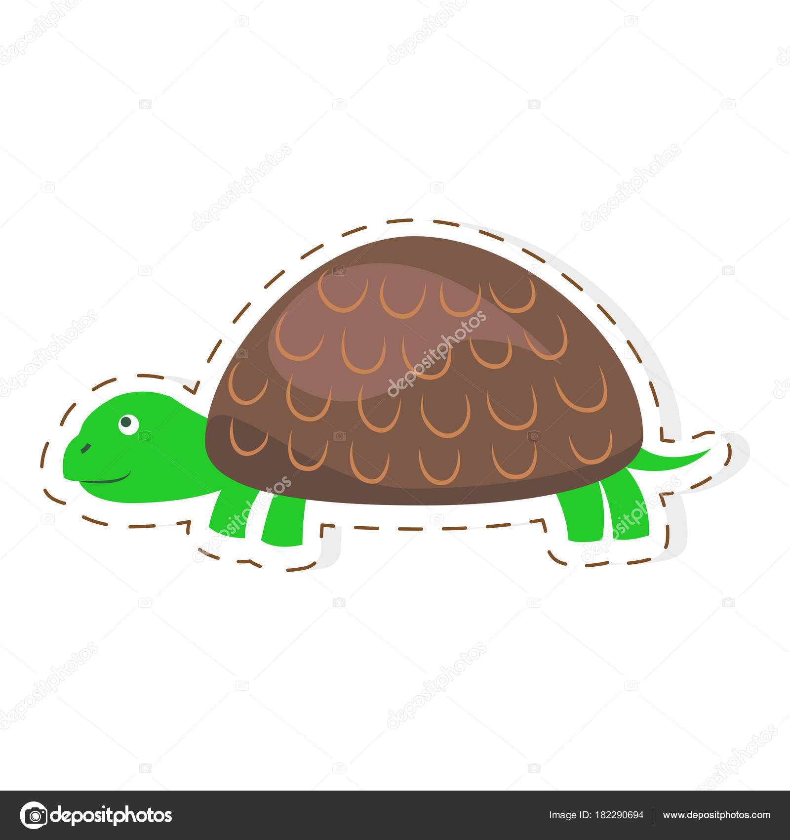 Cute turtle cartoon flat vector sticker or icon stock vector