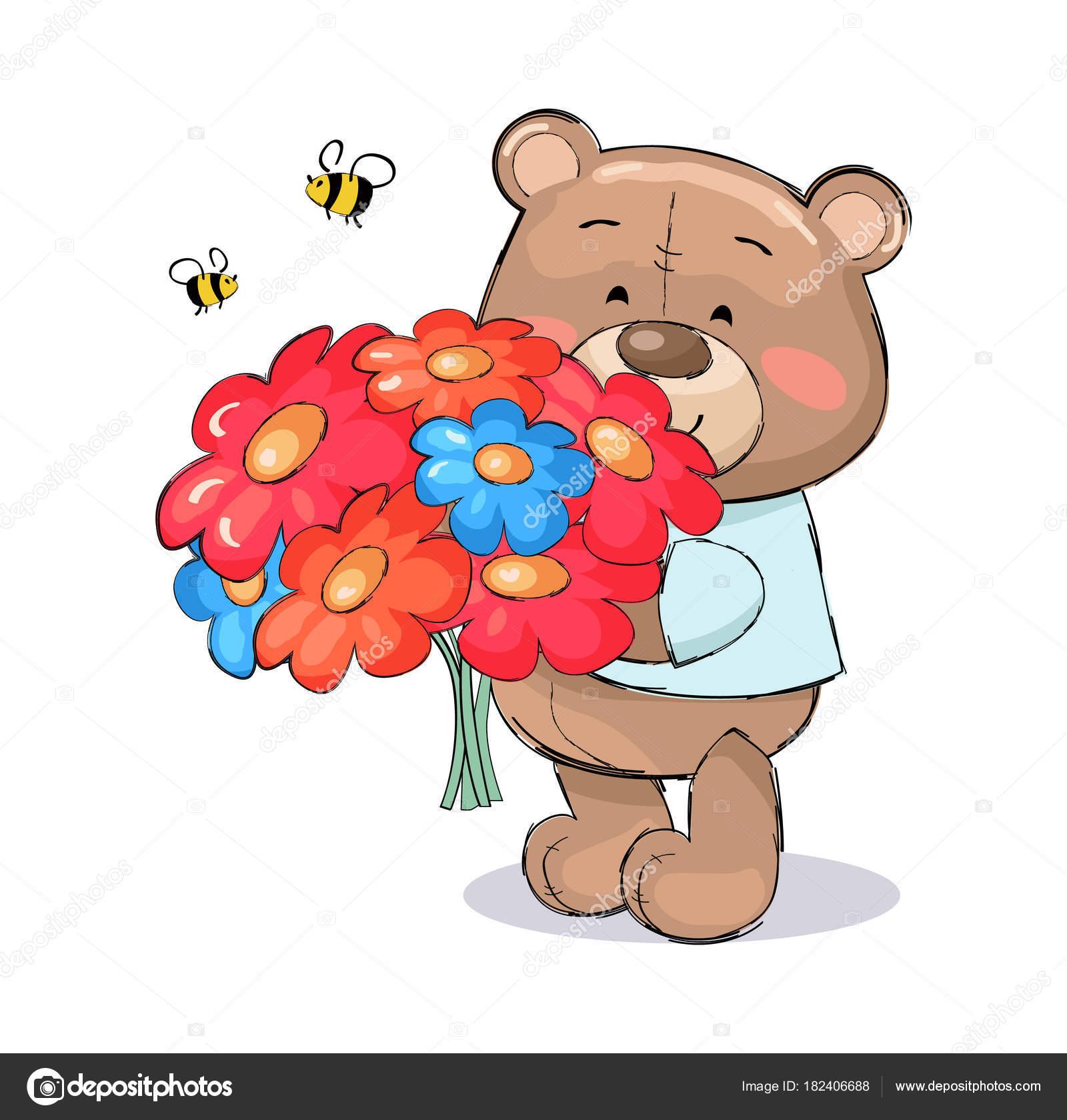 Ours En Peluche Avec Bouquet De Fleurs Colorees De Dessin Anime