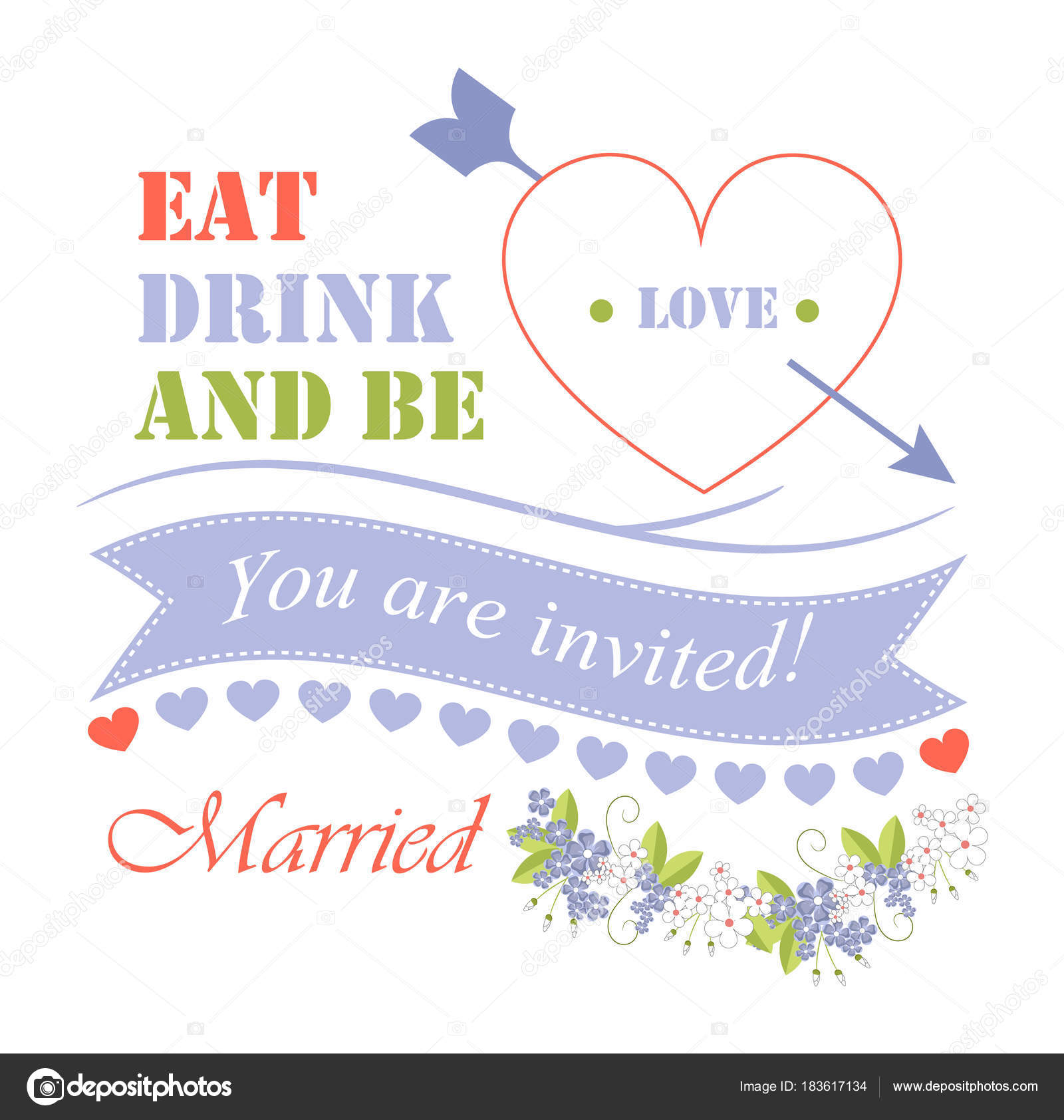 Eat drink and be married vector illustration vetores de stock eat drink and be married you are invited invitation with icons of heart arrow and ribbon with headline flowers isolated on vector illustration vetor stopboris Image collections