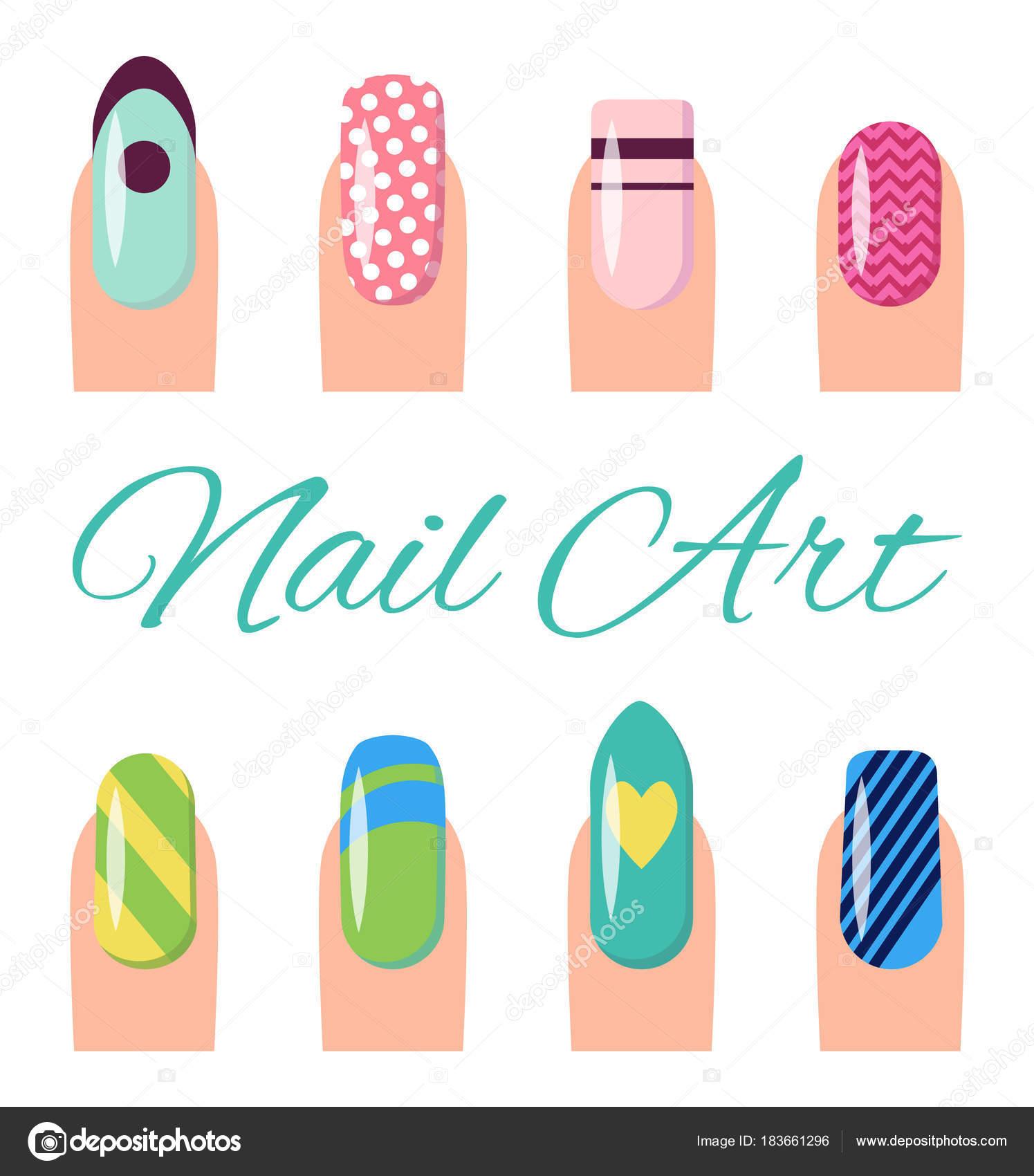 Nail Art Sammlung Poster-Vektor-Illustration — Stockvektor © robuart ...