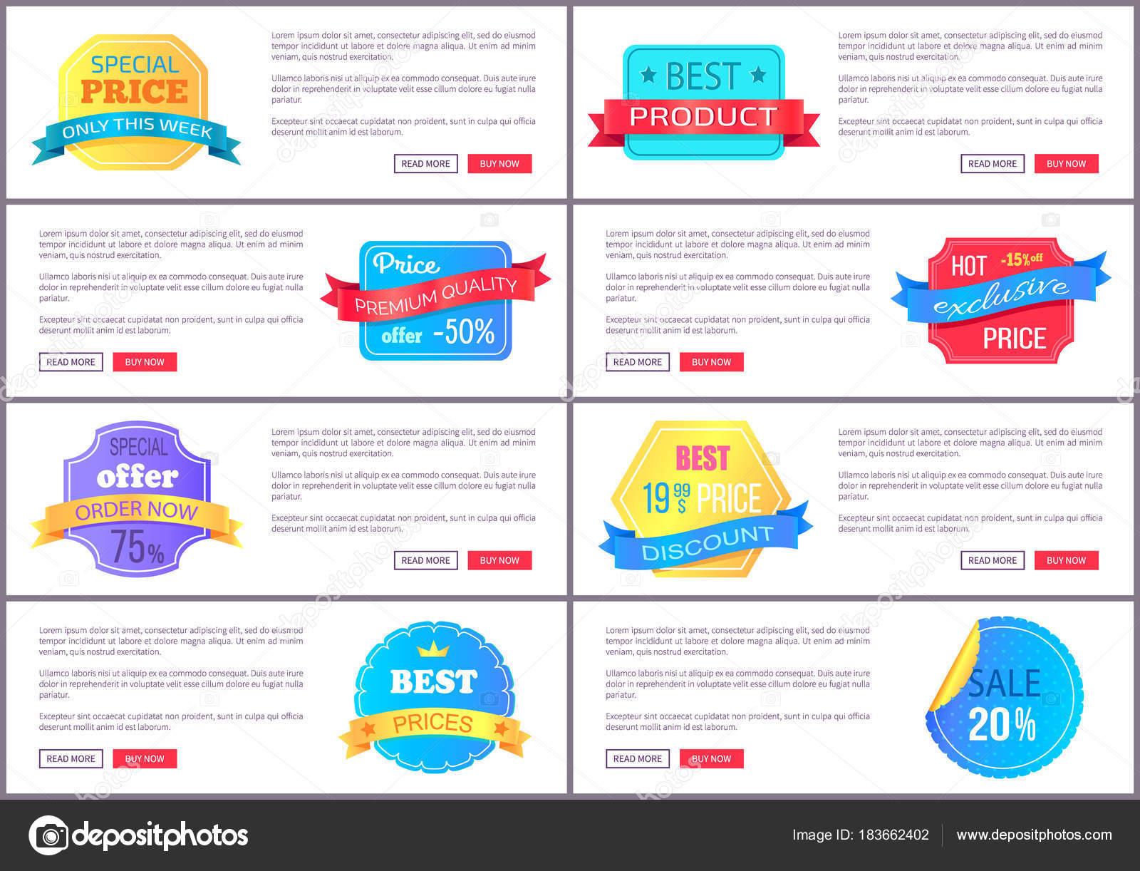 Oferta especial Set venta orden ahora Web cartel Vector — Vector de ...