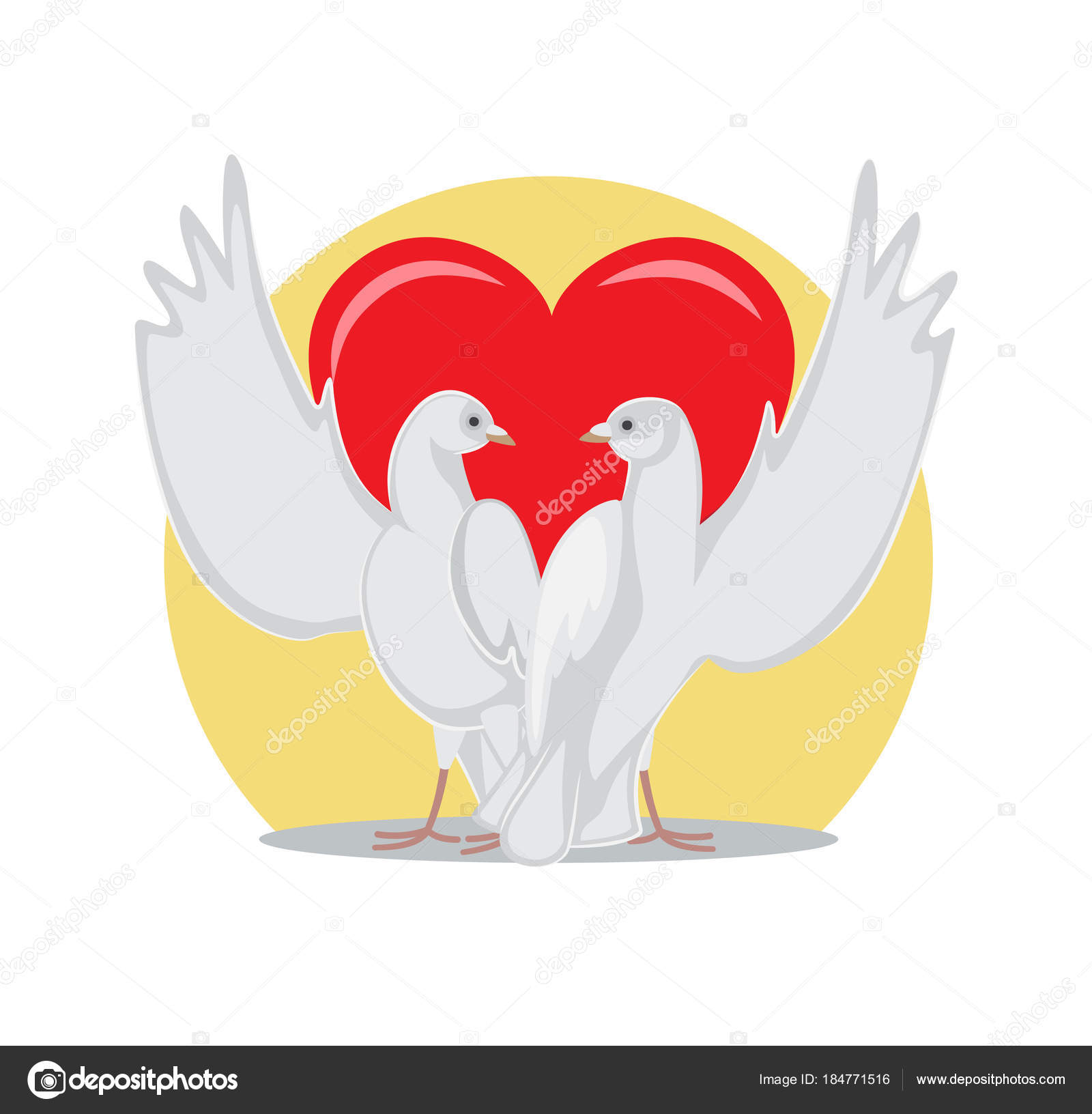 Two Doves Rise Wings Up On Background Of Red Heart Stock Vector