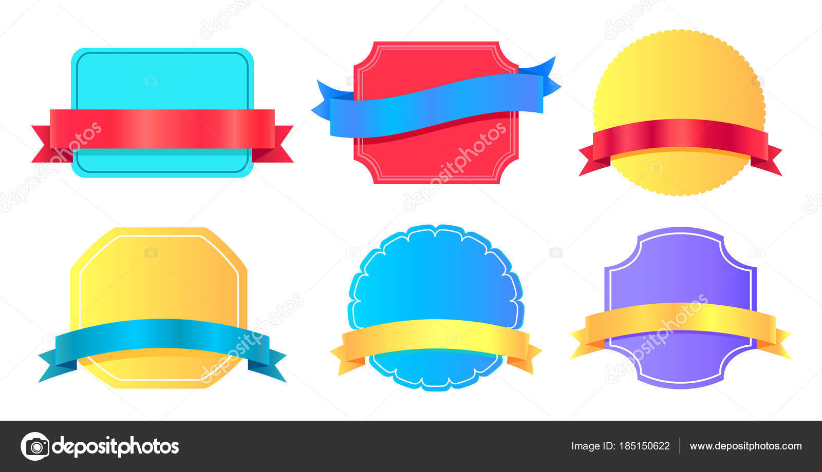 Blank Stickers Place for Text Vector Illustration — Stock Vector