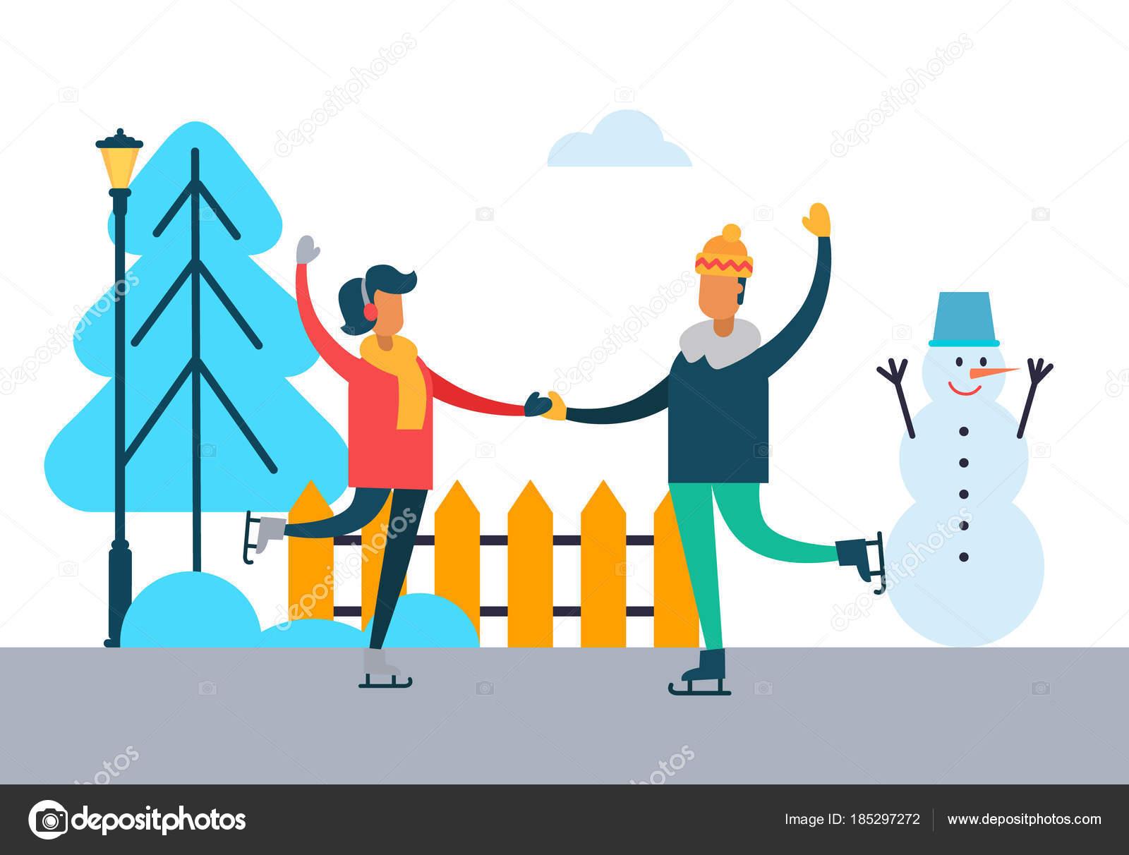 幸せなカップルのスケート屋外冬のダンス — ストックベクター © robuart