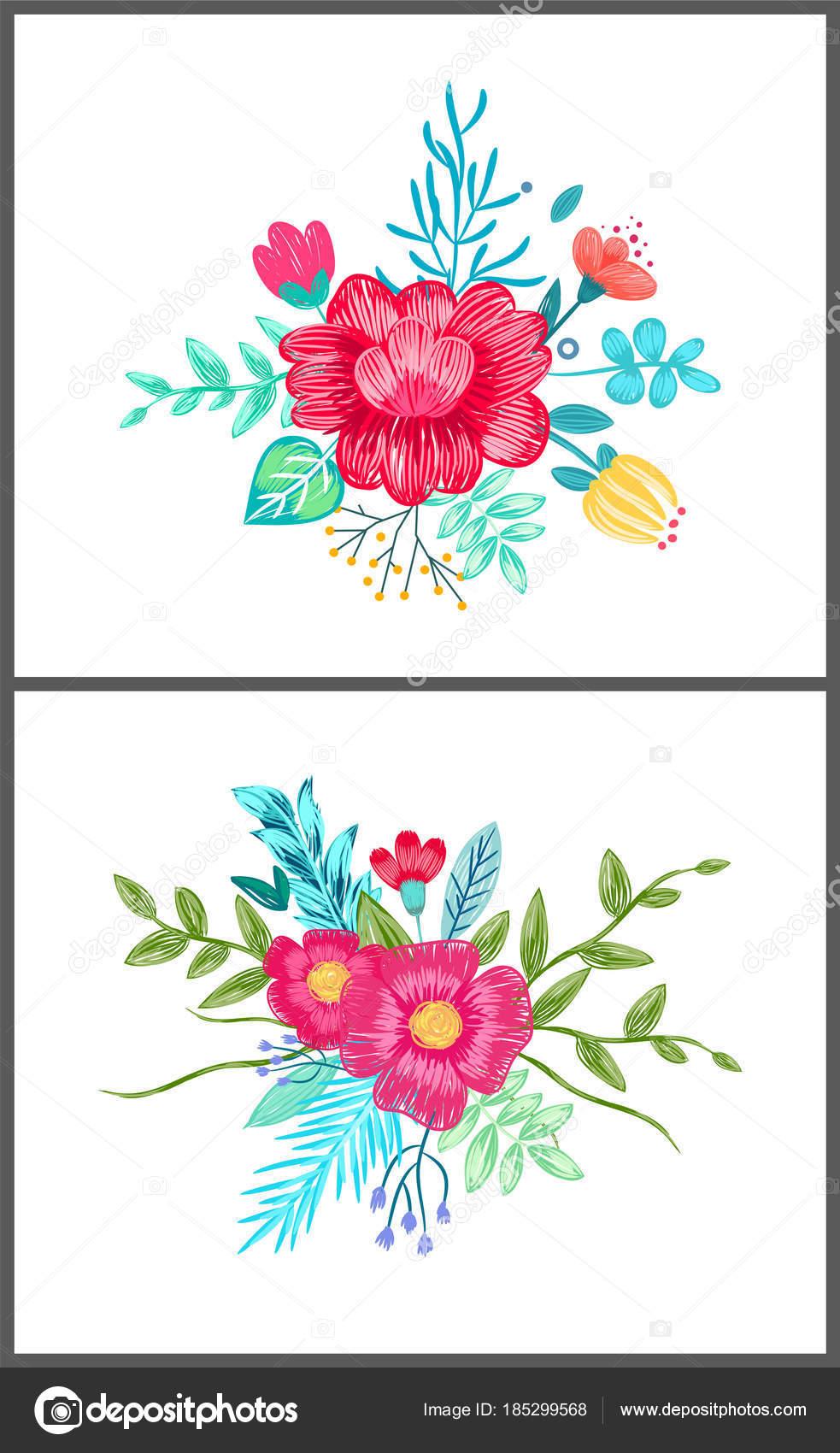 ベクトル イラストのかわいい花柄のセット ストックベクター Robuart