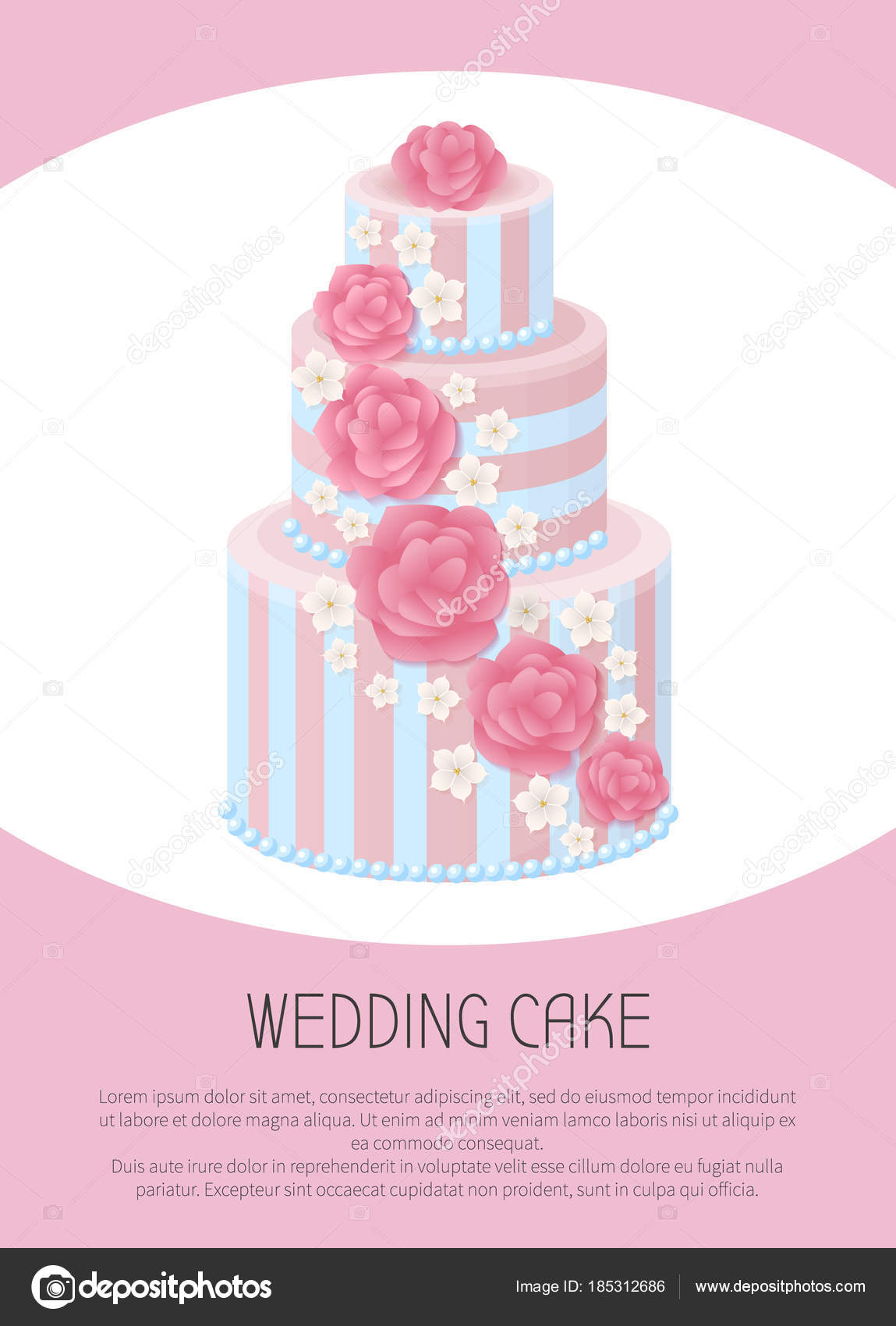 Three-Tier Wedding Cake Decorated with Glaze Roses — Stock Vector ...