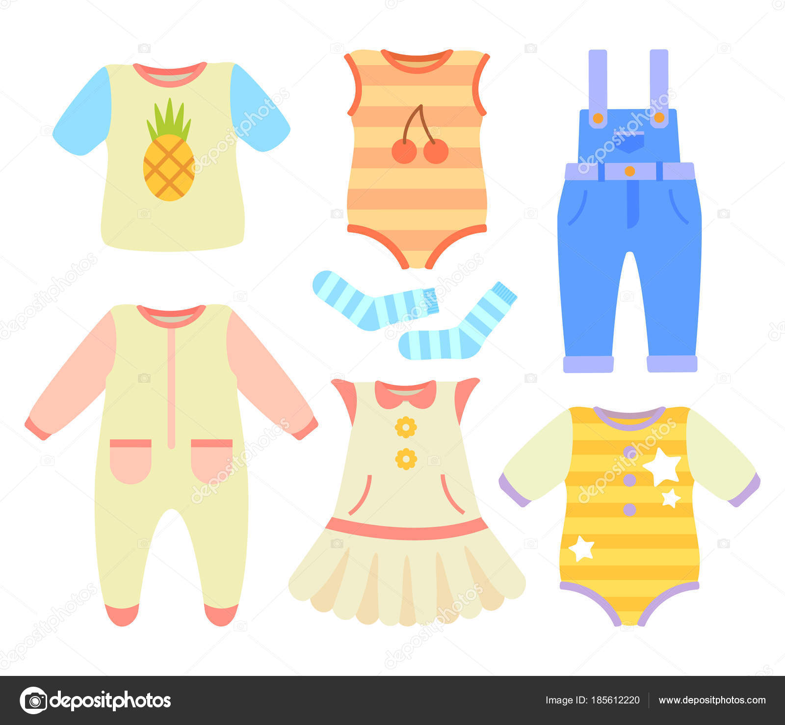 Baby Clothes for Boys and Girls of Natural Fabric — Stock Vector