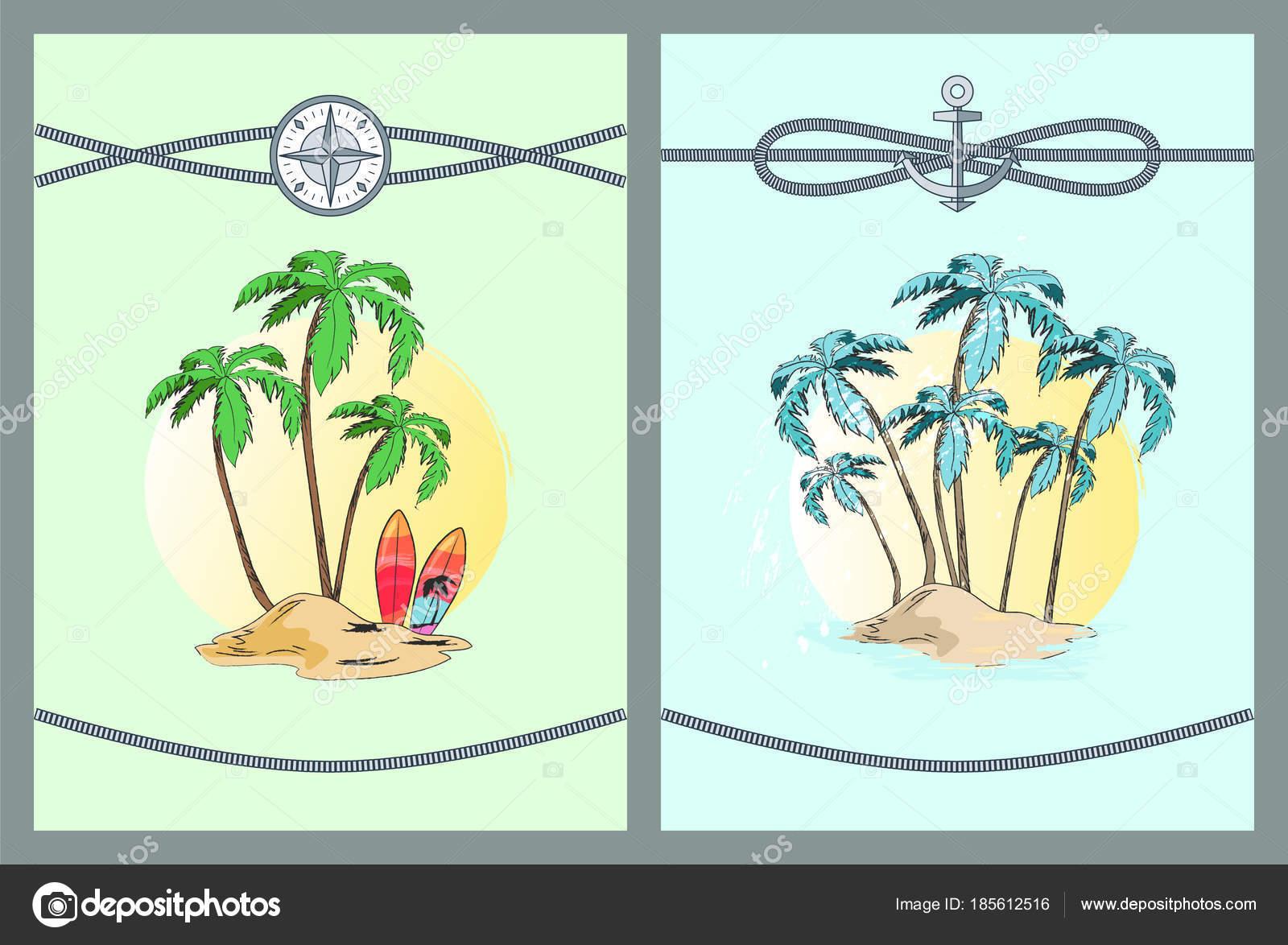 Enmarcado de Color ilustraciones vectoriales con palmeras — Vector ...