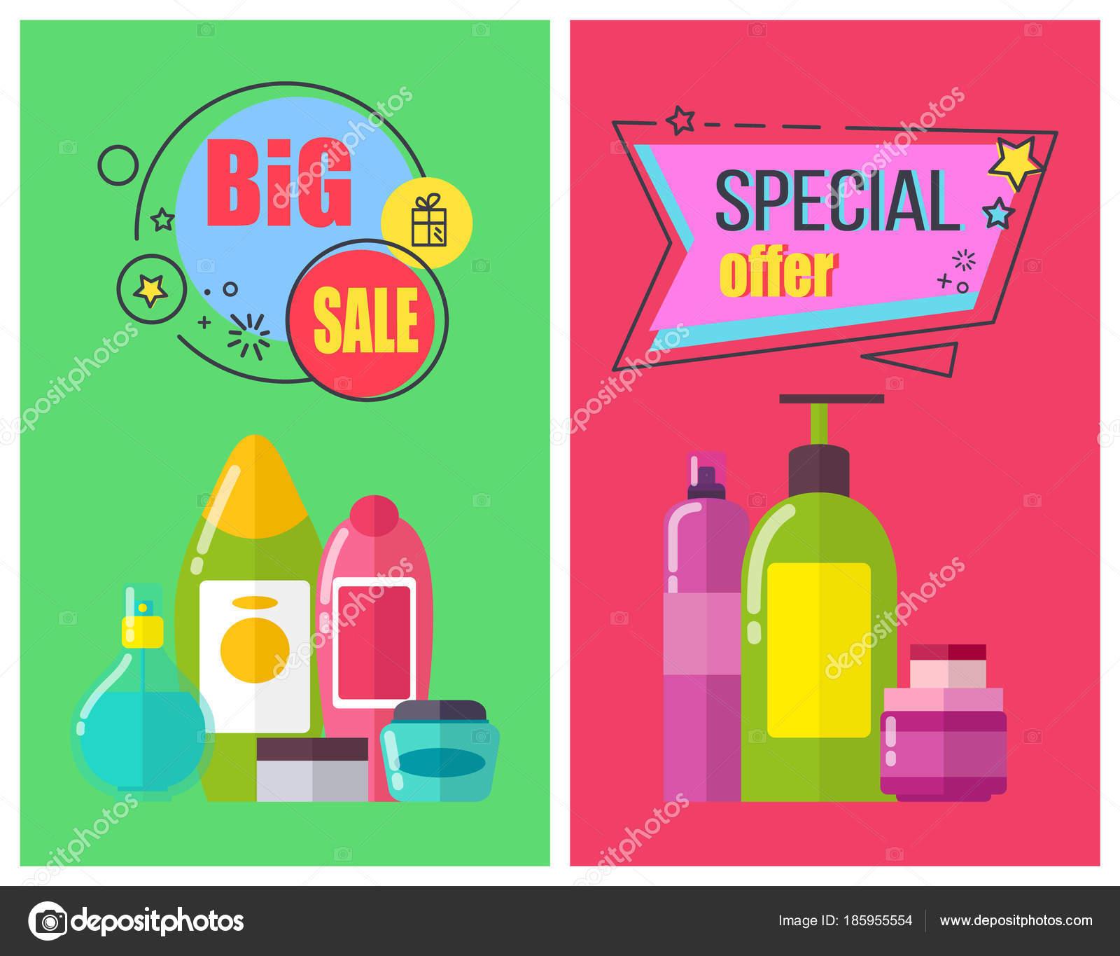Gran venta de carteles promocionales de productos de aseo — Archivo ...