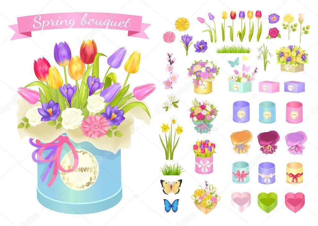 Spring Bouquet Poster Set Vector Illustration