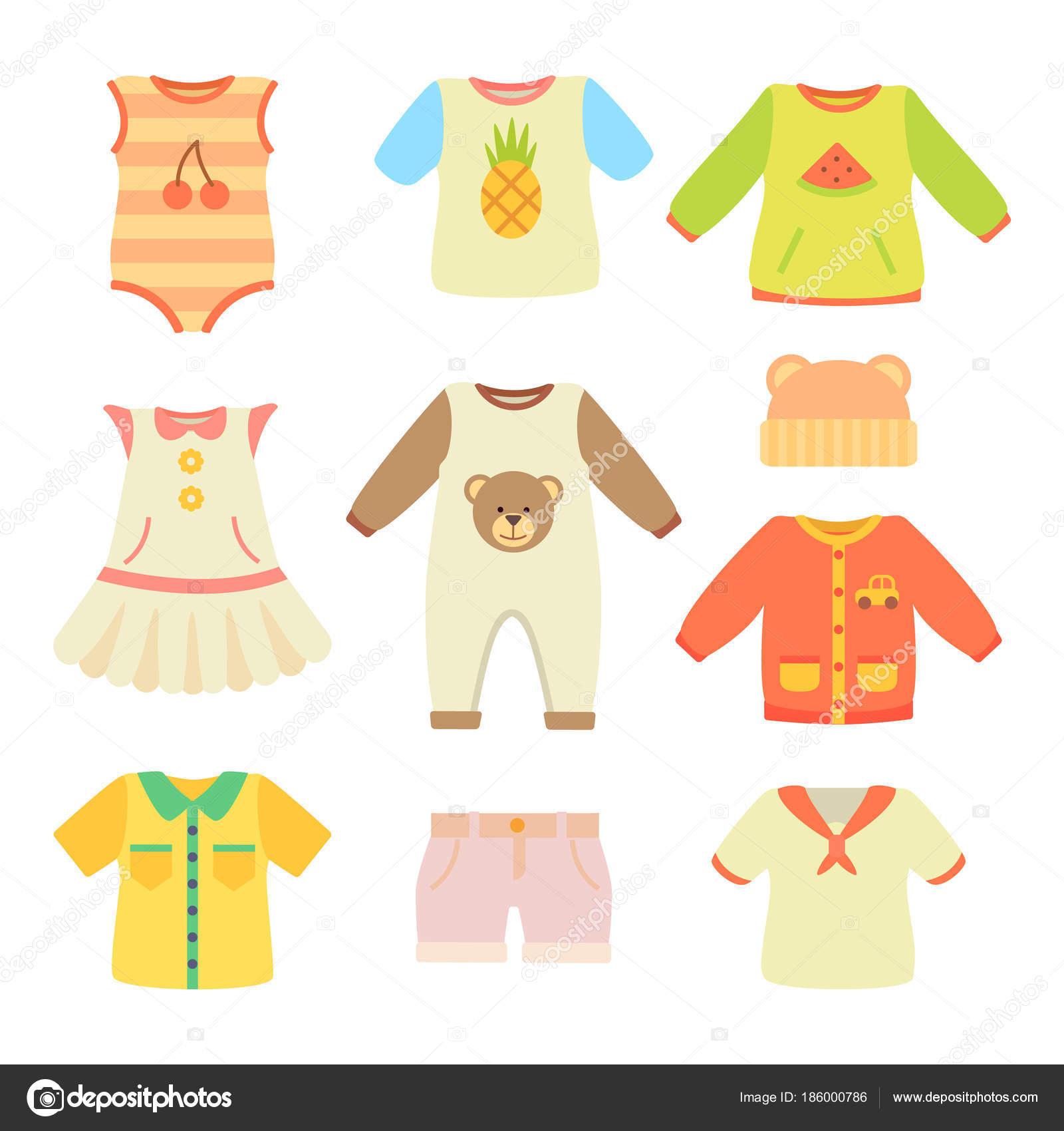 赤ちゃん服ポスター コレクション ベクトル図 ストックベクター