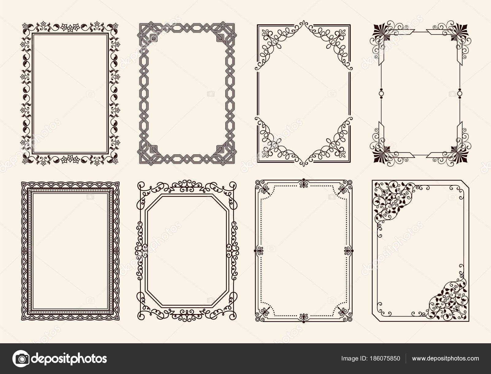 Conjunto de Marcos decorativos de curvas ornamento gráfico — Vector ...