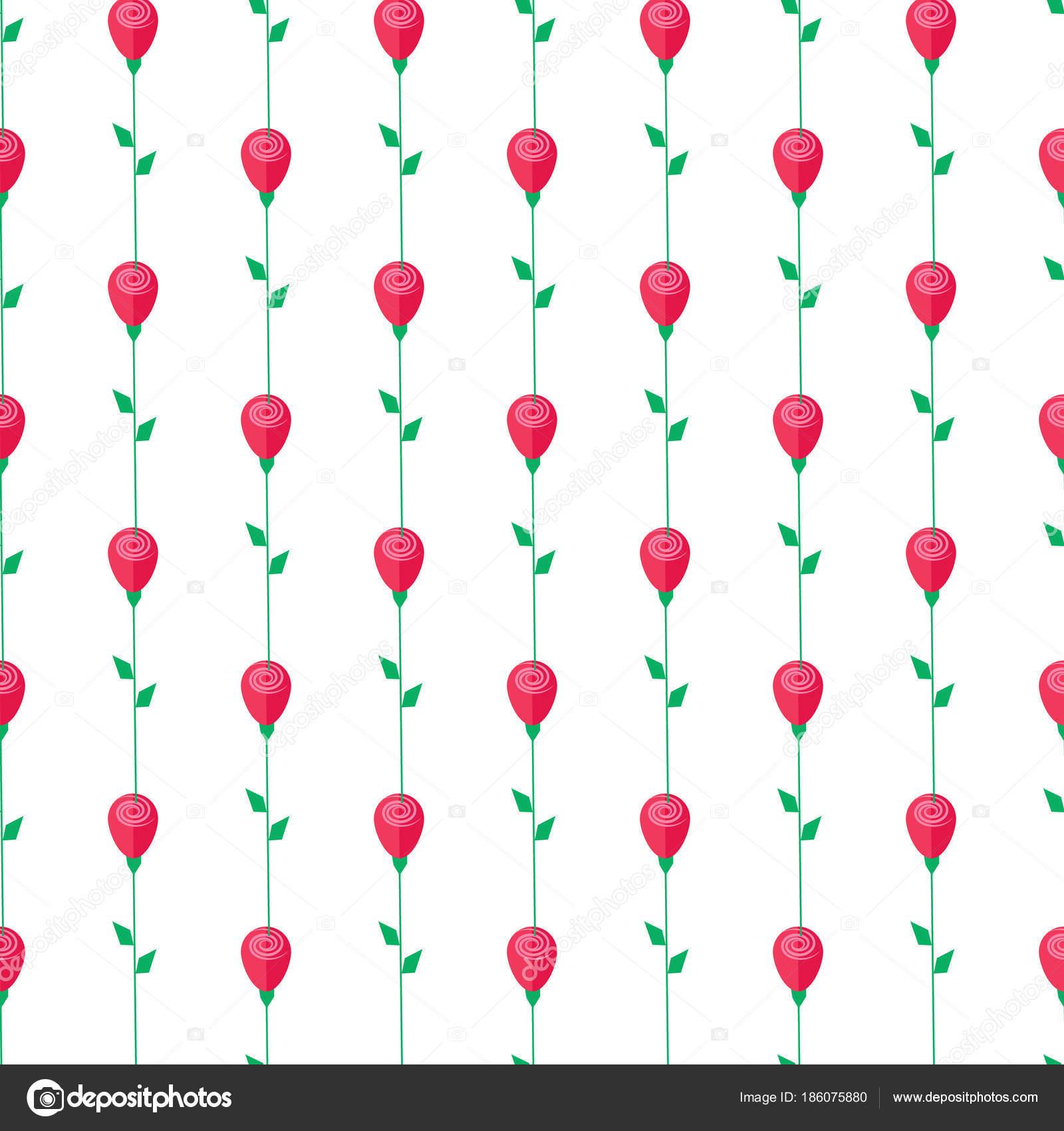 Rose rouge avec la tige et les feuilles seamless pattern - Rose avec tige ...