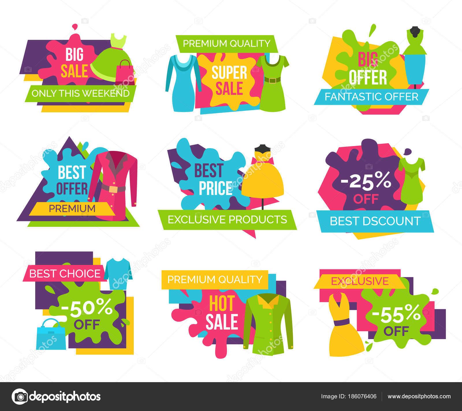 Mulheres com roupas loja conjunto de publicidade rótulos com elementos de  vestuário para mulher 981d626a2a3