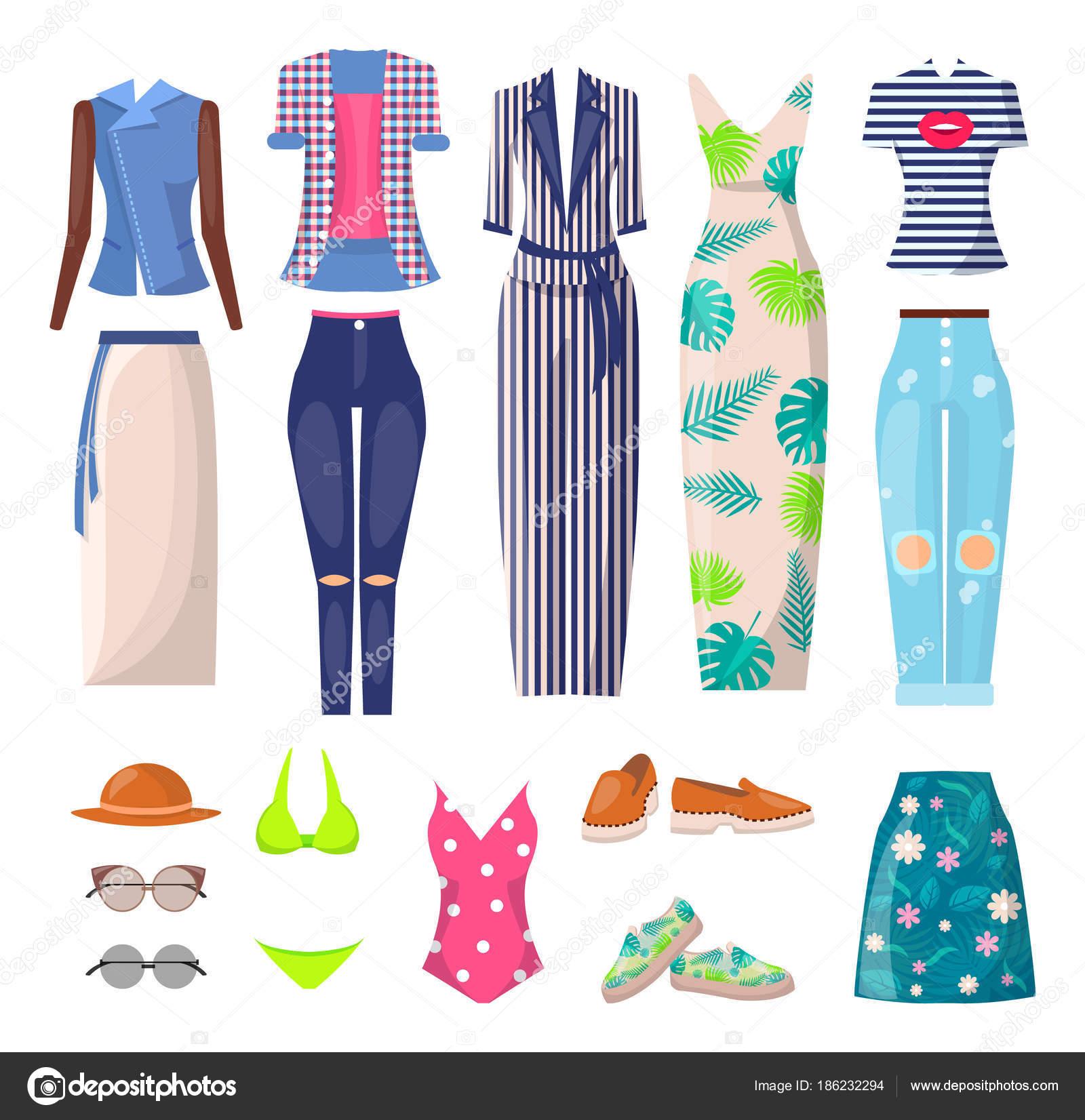 df25fb4cface42 Встановити режим літнього одягу, плакат з плаття і спідниці, плавальний  костюм і літніх режим, Топ і взуття, футболку і сонцезахисні окуляри, ...