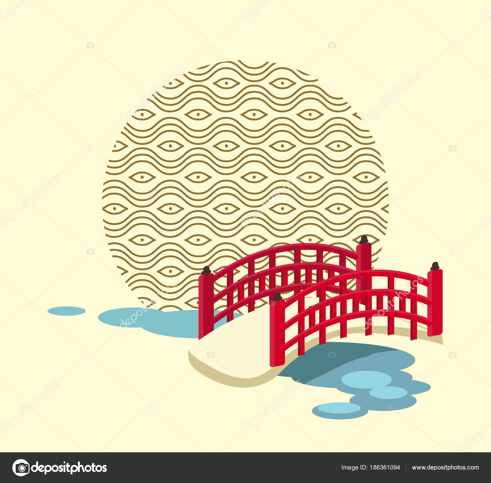 Japanese Bridge Over River And Circle With Pattern Stock Vector