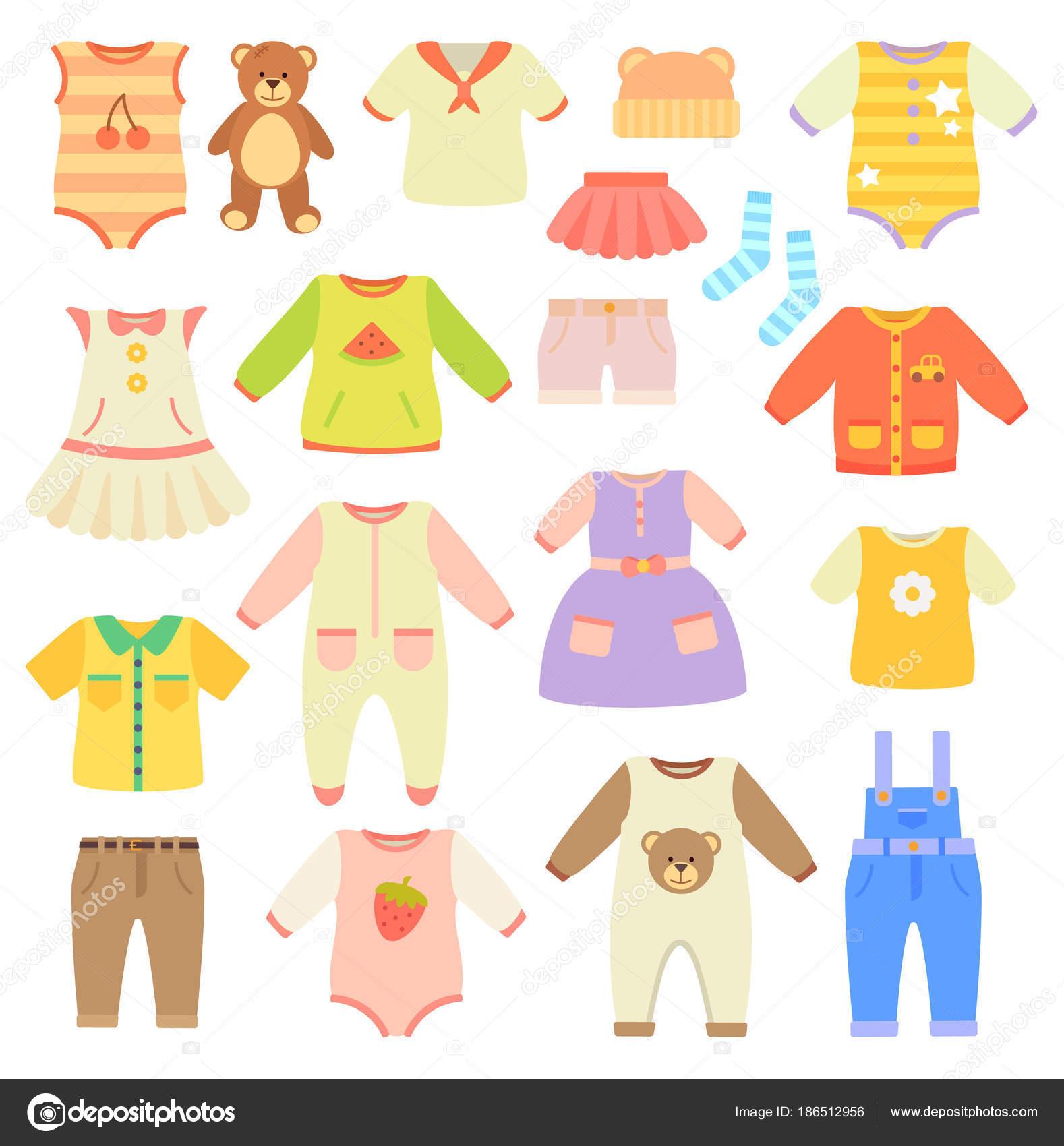 Collezione di vestiti alla moda baby per ragazzi e ragazze. Abiti per  neonati e bambini piccoli. Abiti carini e confortevoli crawler  illustrazioni insieme ... de65b3b727a