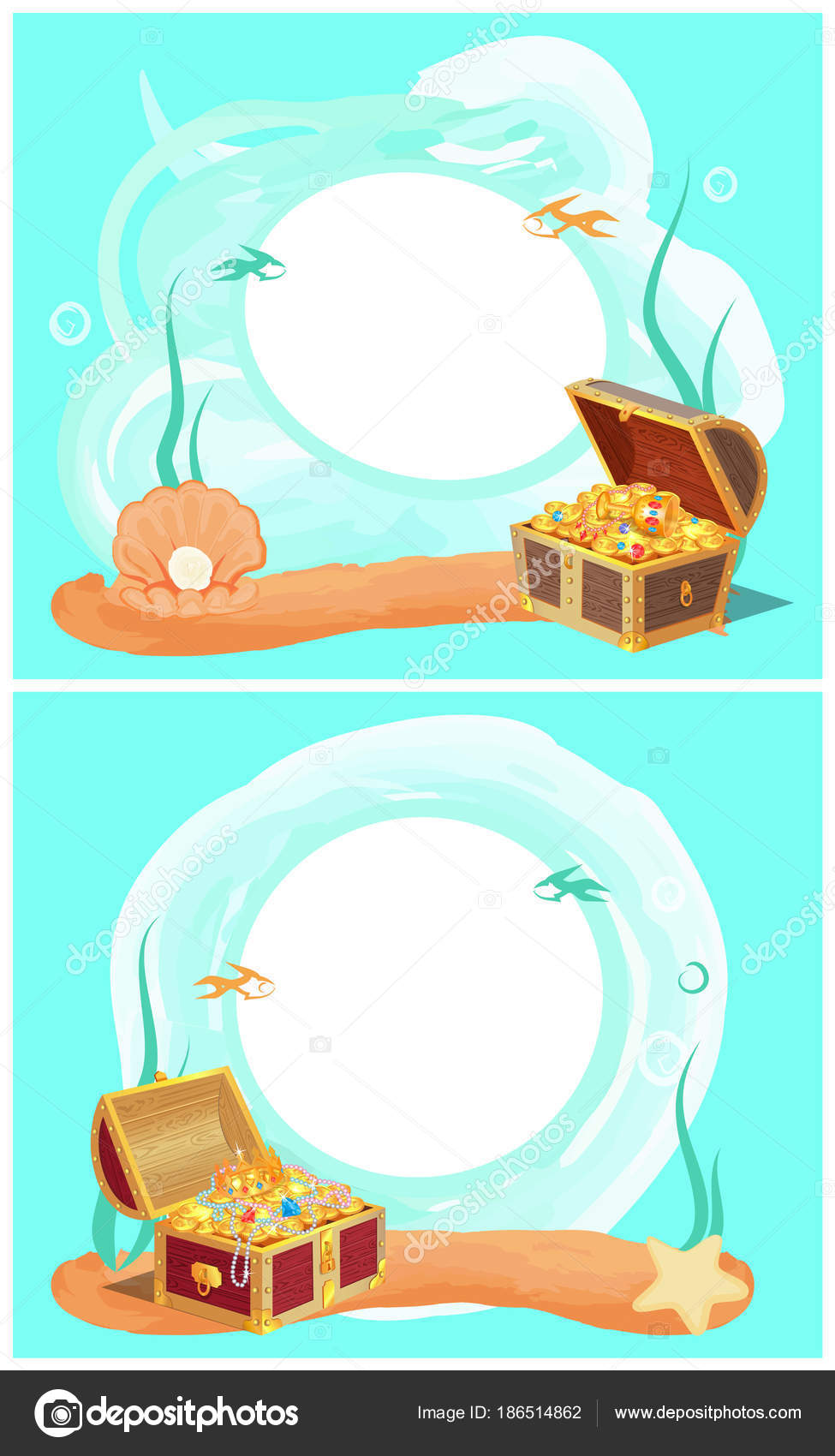 Conjunto de marcos de fotos creativas con el tesoro en mar — Vector ...