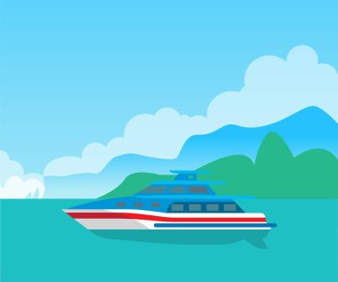 Beautiful Seascape and Cute Yacht, Color Poster