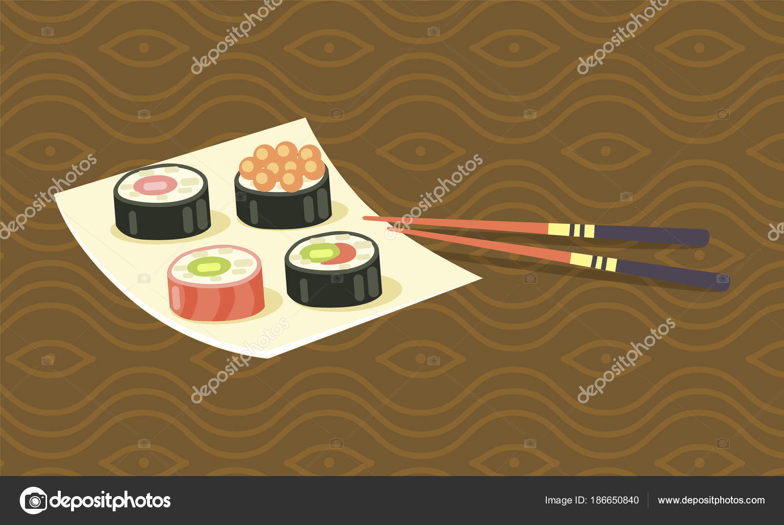 Delicious Japanese Sushi Rolls on Square Plate — Stock Vector