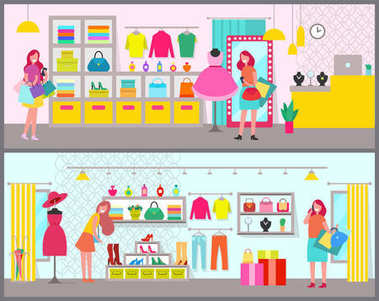 Pair of Colorful Banners with Cute Clothing Stores