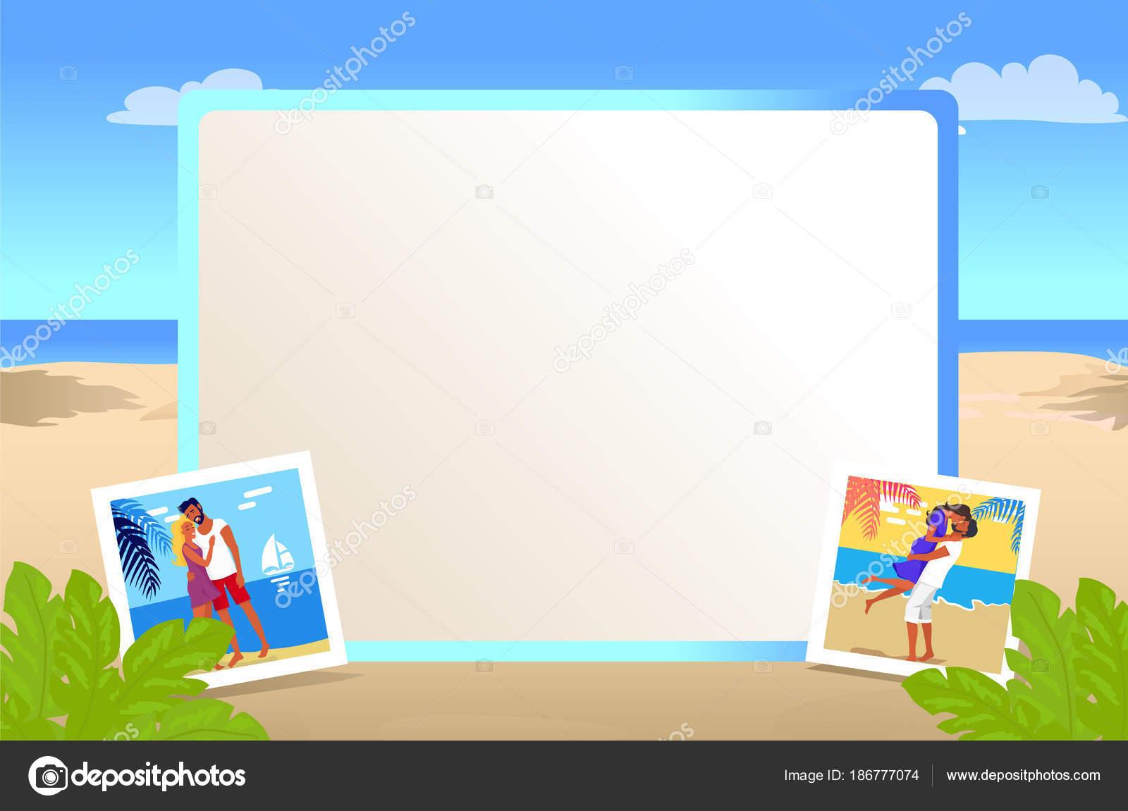 Quadratische Bilderrahmen mit schönen Sandstrand — Stockvektor ...