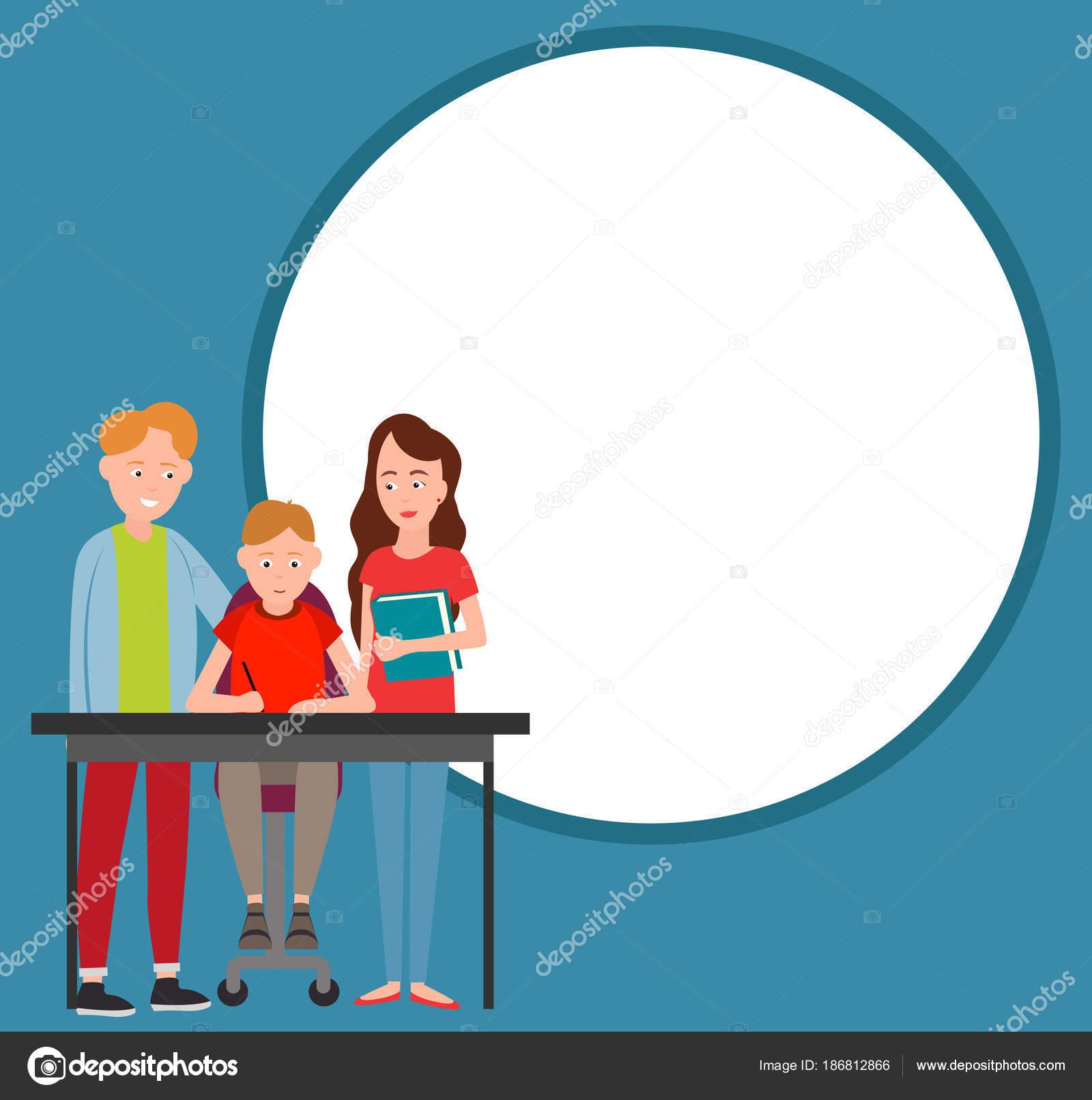 Les Parents Aider Garçon Faire Devoirs Vector Illustration