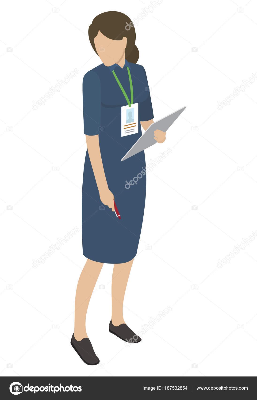 cfa79b810 Mujer en vestido Midi azul tiene tableta y pluma — Archivo Imágenes  Vectoriales