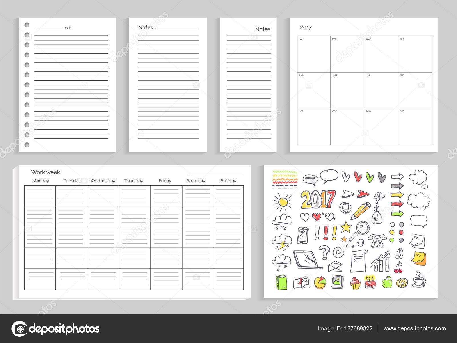 Calendario Diario.Sistema De Calendario Diario Planes Vector Ilustracion