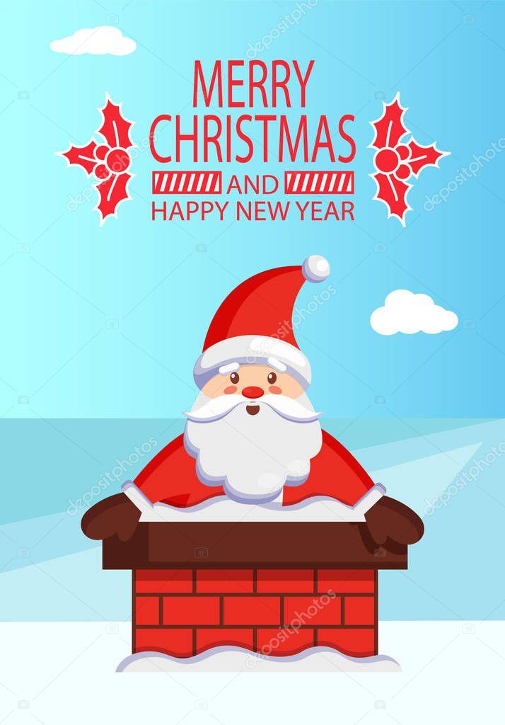 Feliz Navidad Papá Noel en chimenea vectores texto ...
