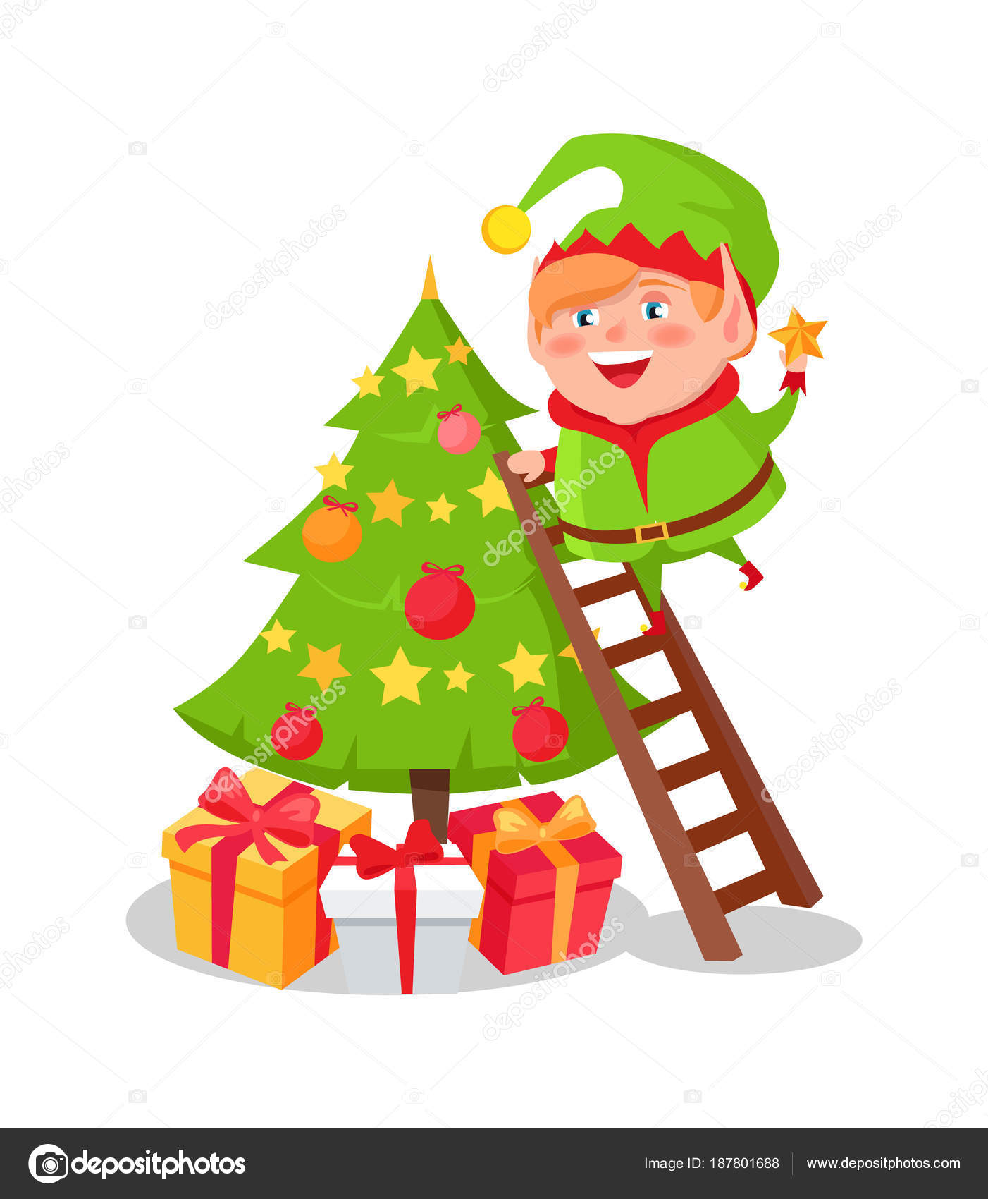 c5311d02 Elf cartoon character decorate Christmas tree putting star on top standing  on ladder, many gift boxes and New year symbol vector illustration postcard  ...