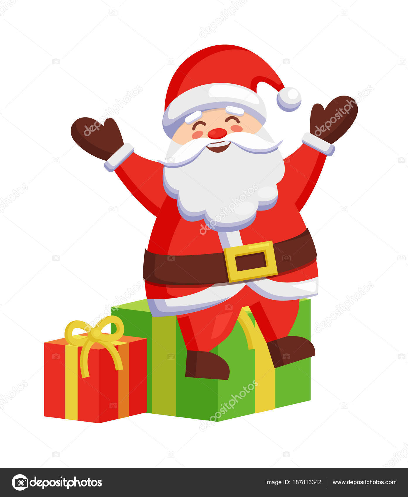 Santa Claus Sitting On Colorful Gift Boxes Icon Stock Vector