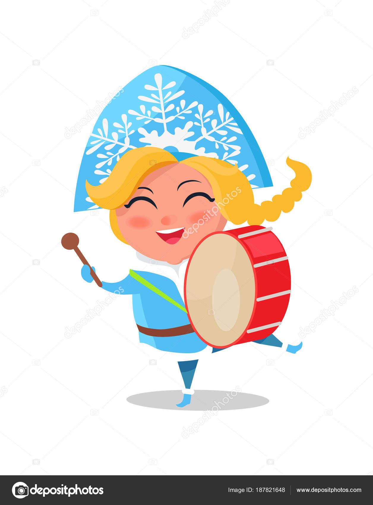 Snow Maiden Play Drums Vektor Illustration Cartoon Stockvektor