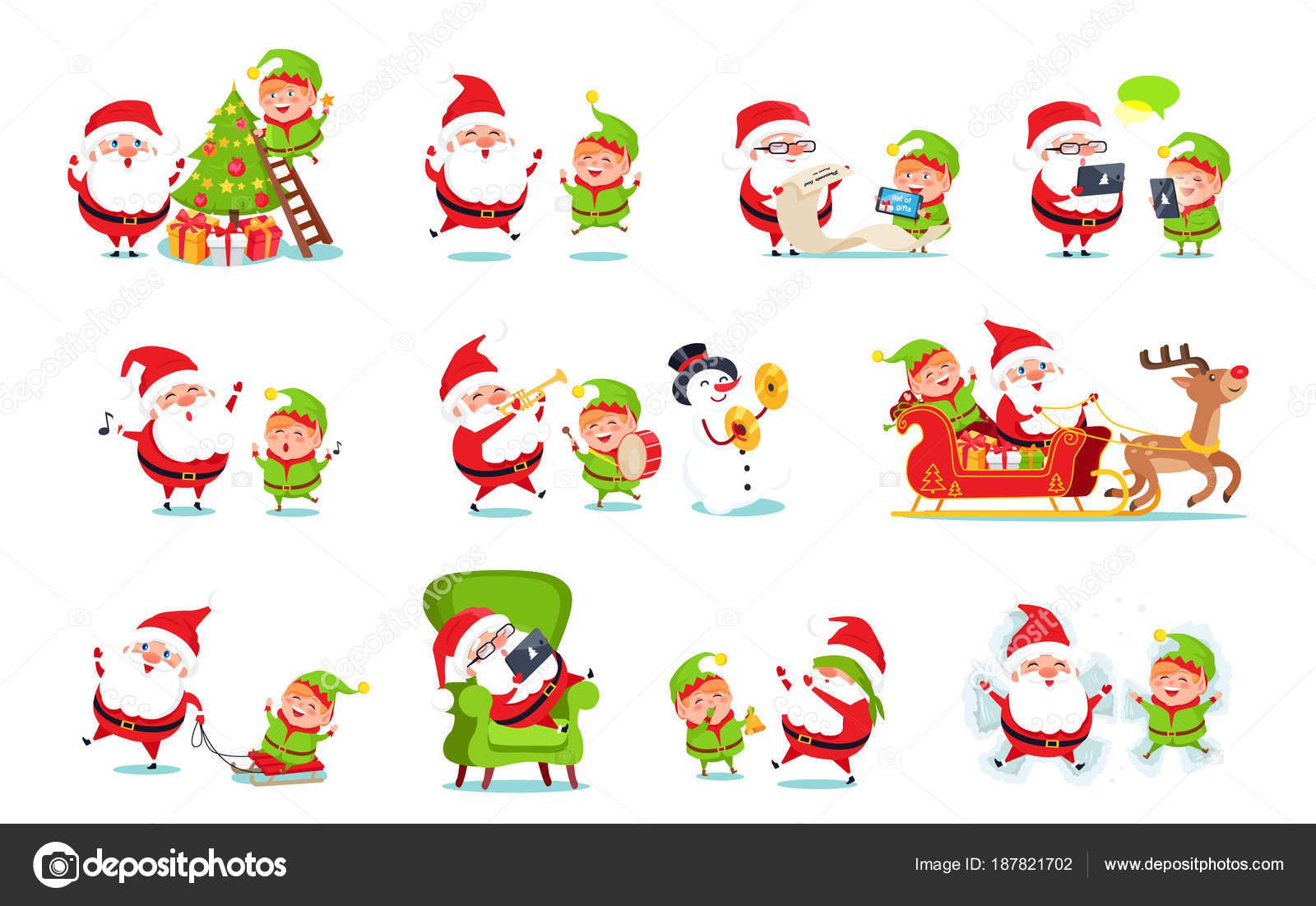 santa claus activities set vector illustration stock vector - Santa Claus Activities