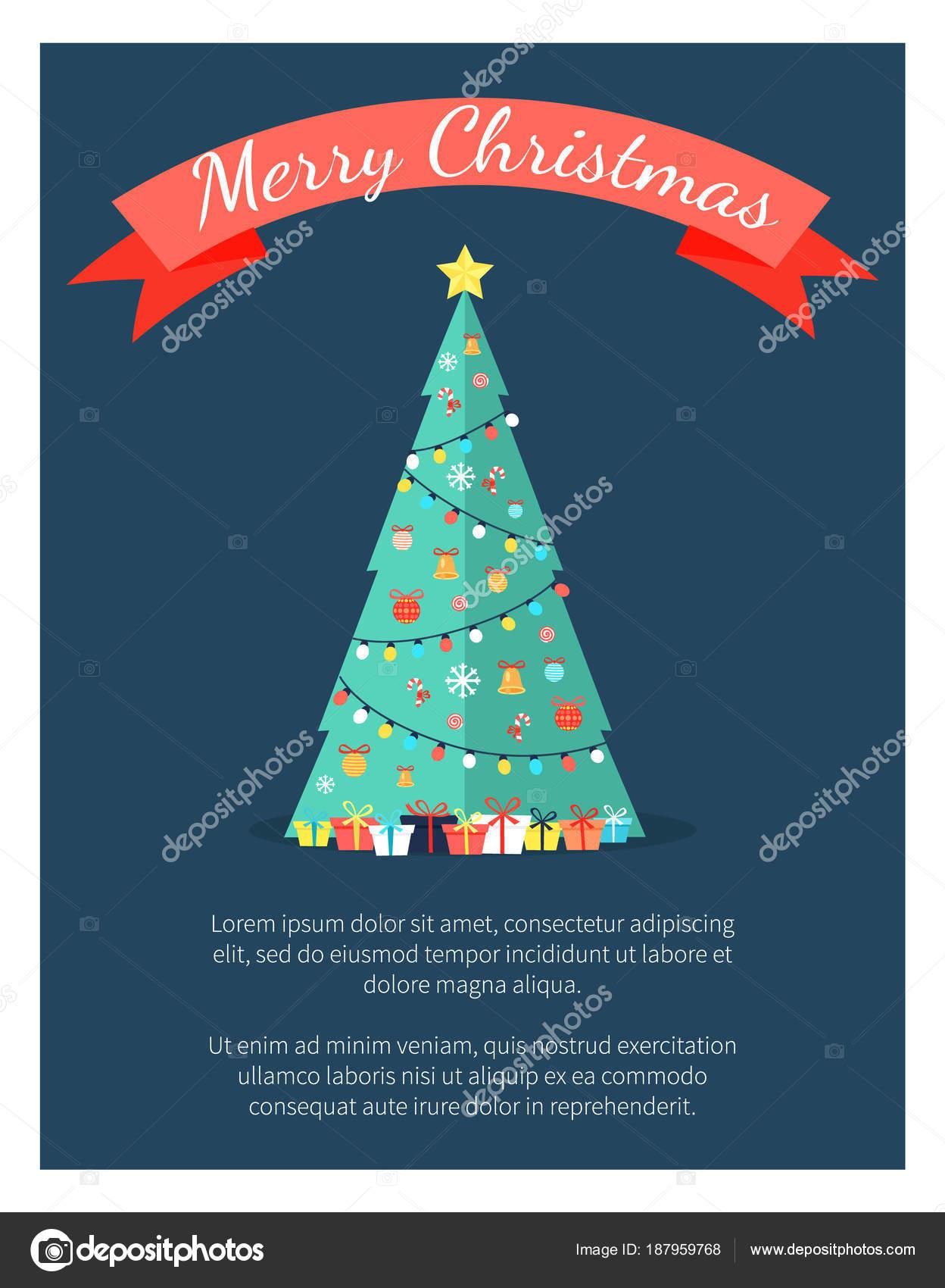 abd00f28cd9a4 Cartel de feliz Navidad con el árbol decorado por guirnaldas– Ilustración  de Stock