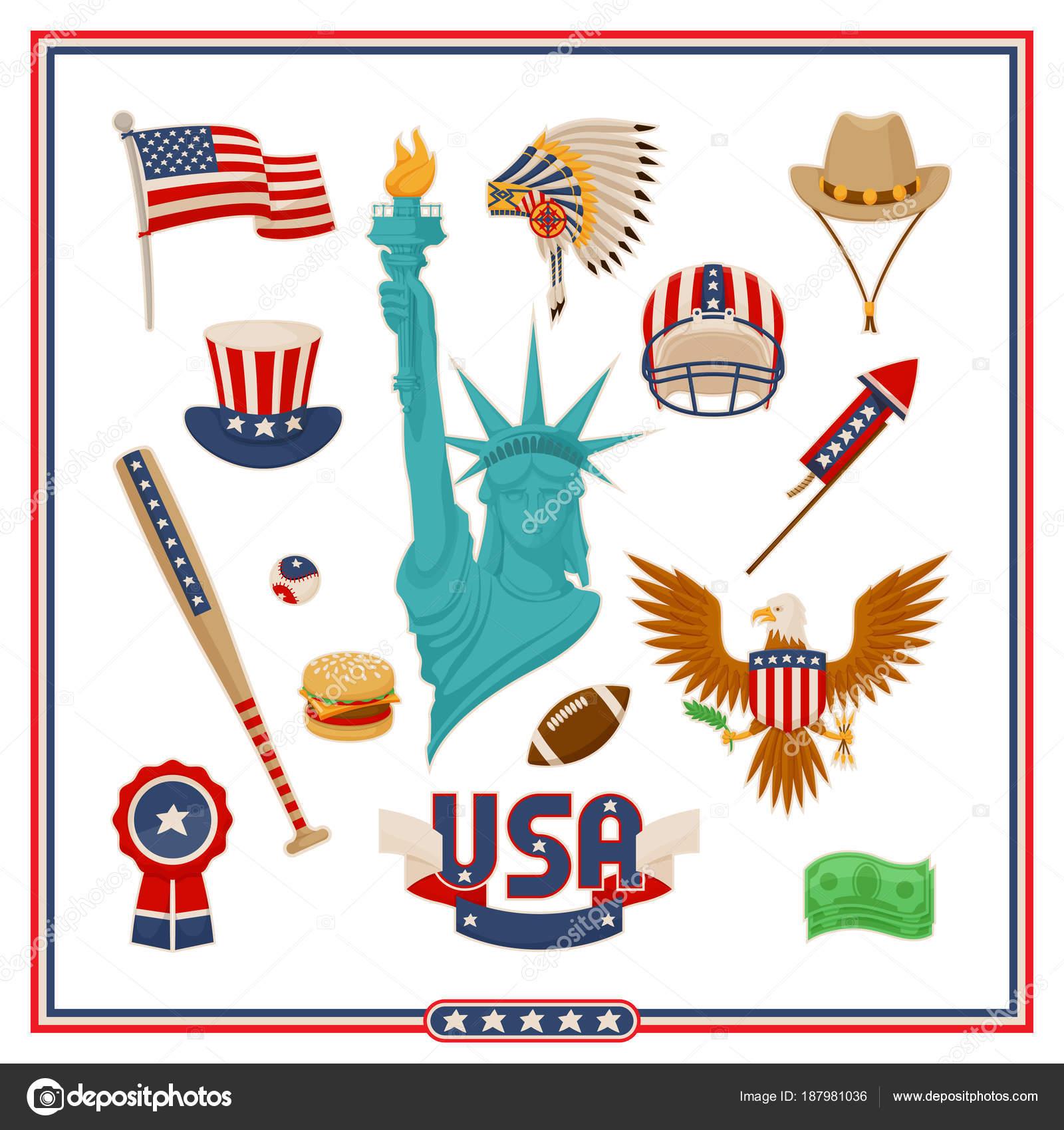 アメリカ国シンボル分離イラスト セット ストックベクター Robuart