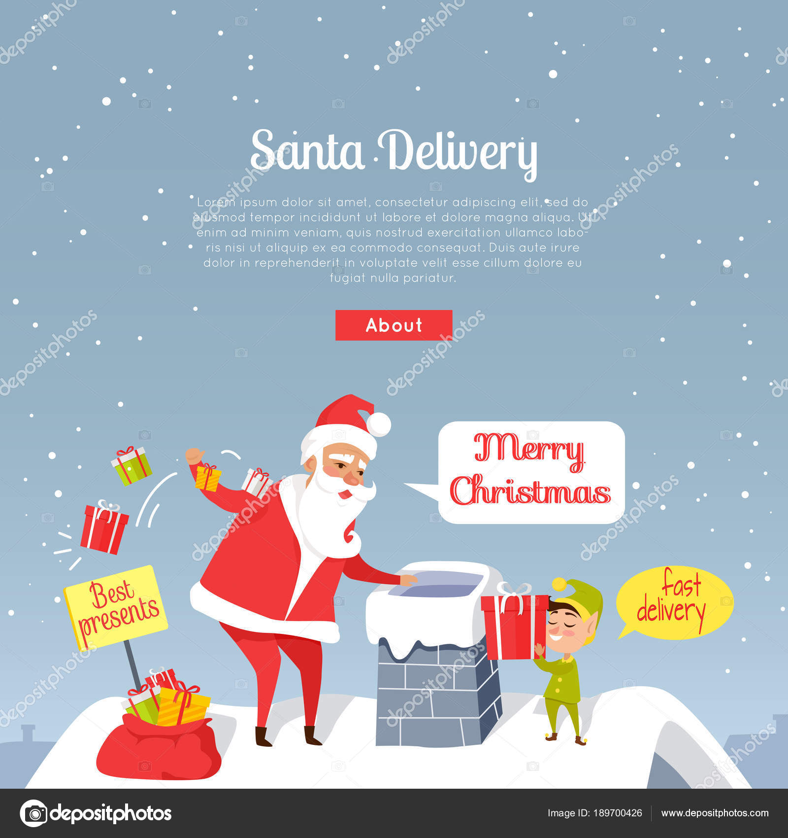 Santa Delivery. Merry Christmas. Best Presents — Stock Vector ...
