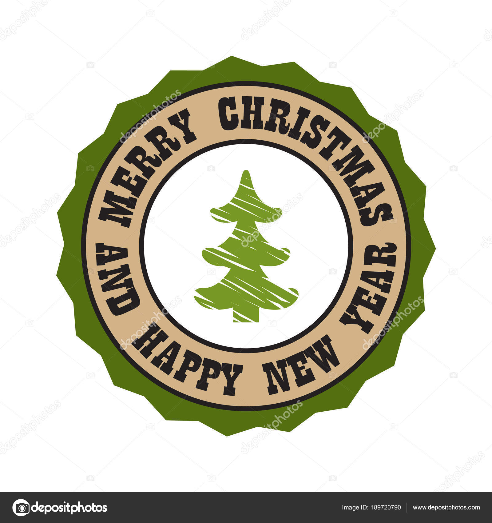 merry christmas and happy new year sticker of round shape with borders and frames title and image of pine tree sketch vector illustration logo design